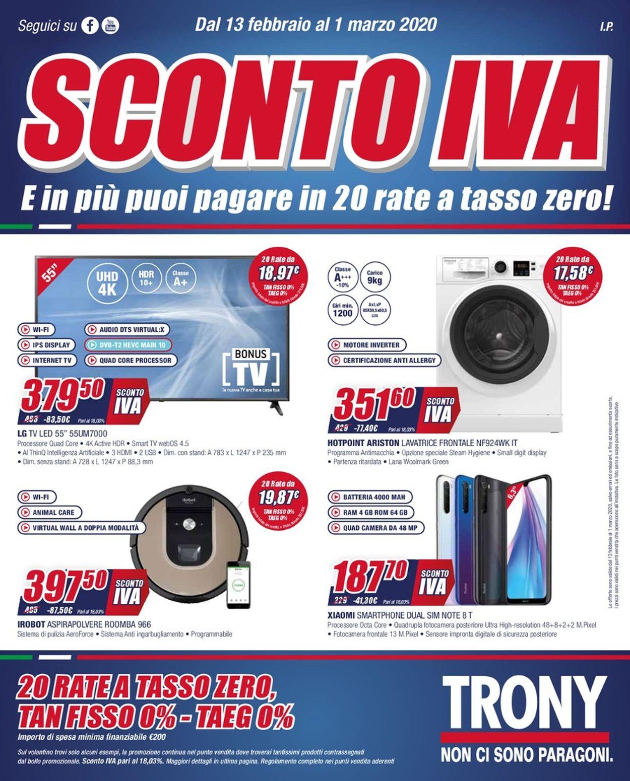 Volantino Trony - Offerte 13/02-01/03/2020