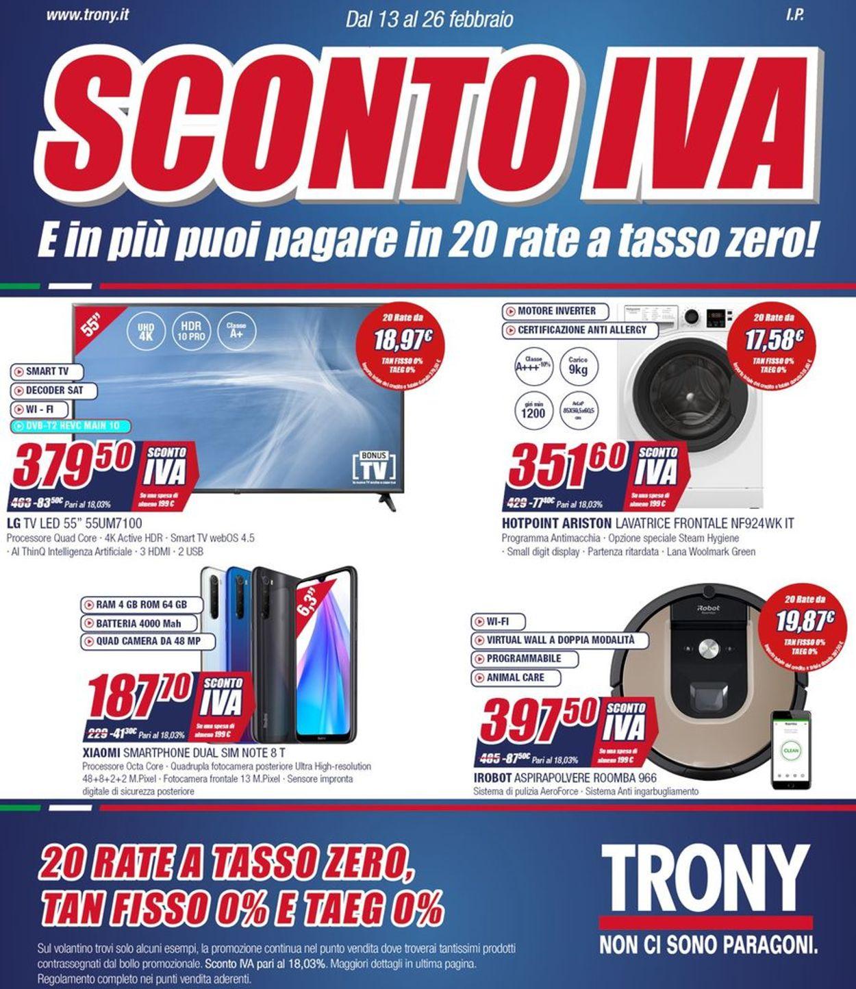 Volantino Trony - Offerte 13/02-26/02/2020