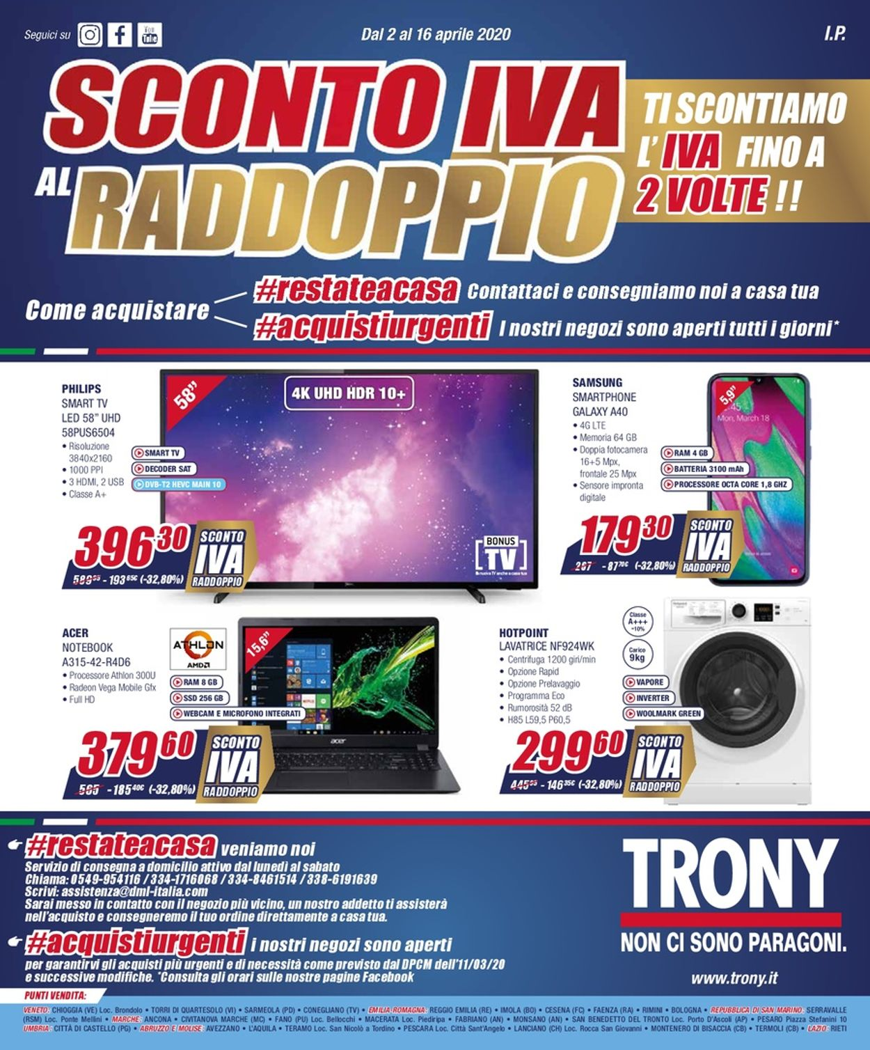 Volantino Trony - Offerte 02/04-16/04/2020
