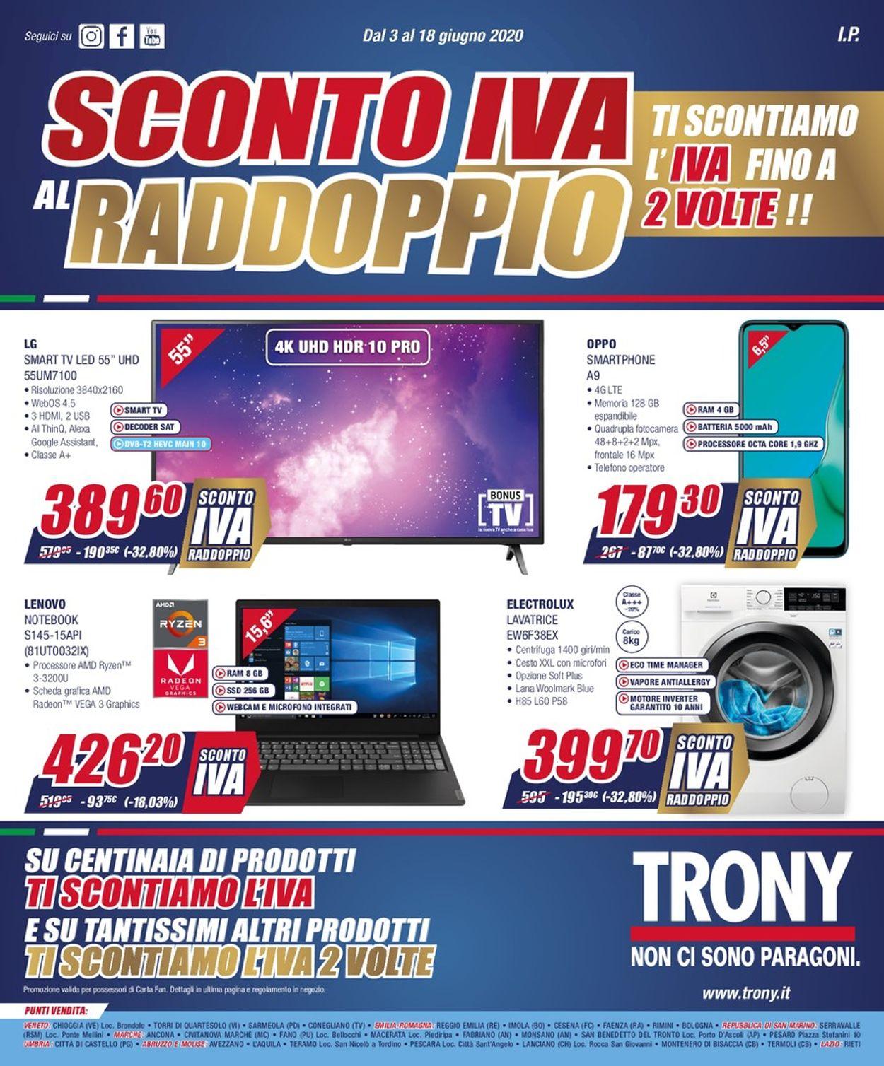 Volantino Trony - Offerte 03/06-18/06/2020