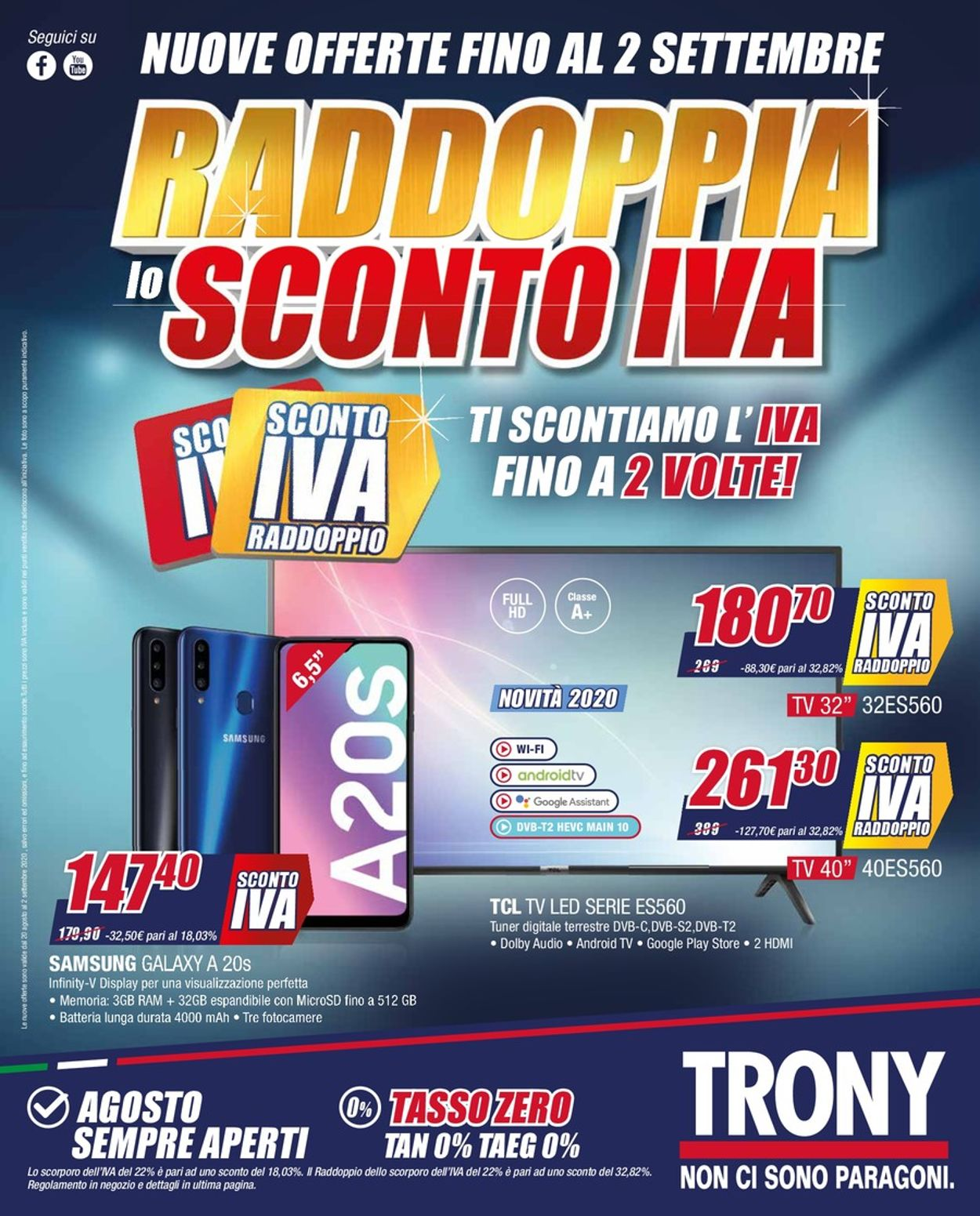 Volantino Trony - Offerte 19/08-02/09/2020