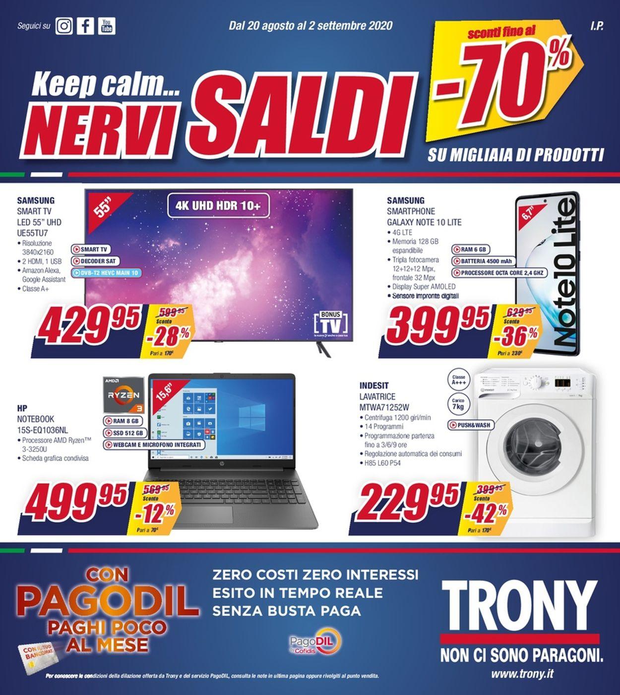 Volantino Trony - Offerte 20/08-02/09/2020