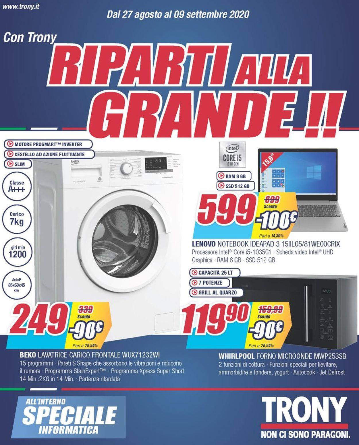 Volantino Trony - Offerte 27/08-09/09/2020