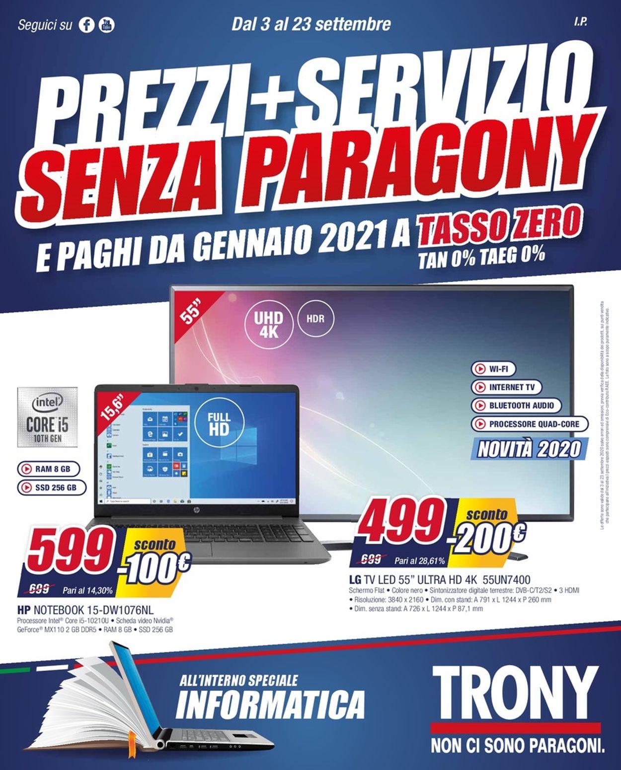 Volantino Trony - Offerte 03/09-23/09/2020