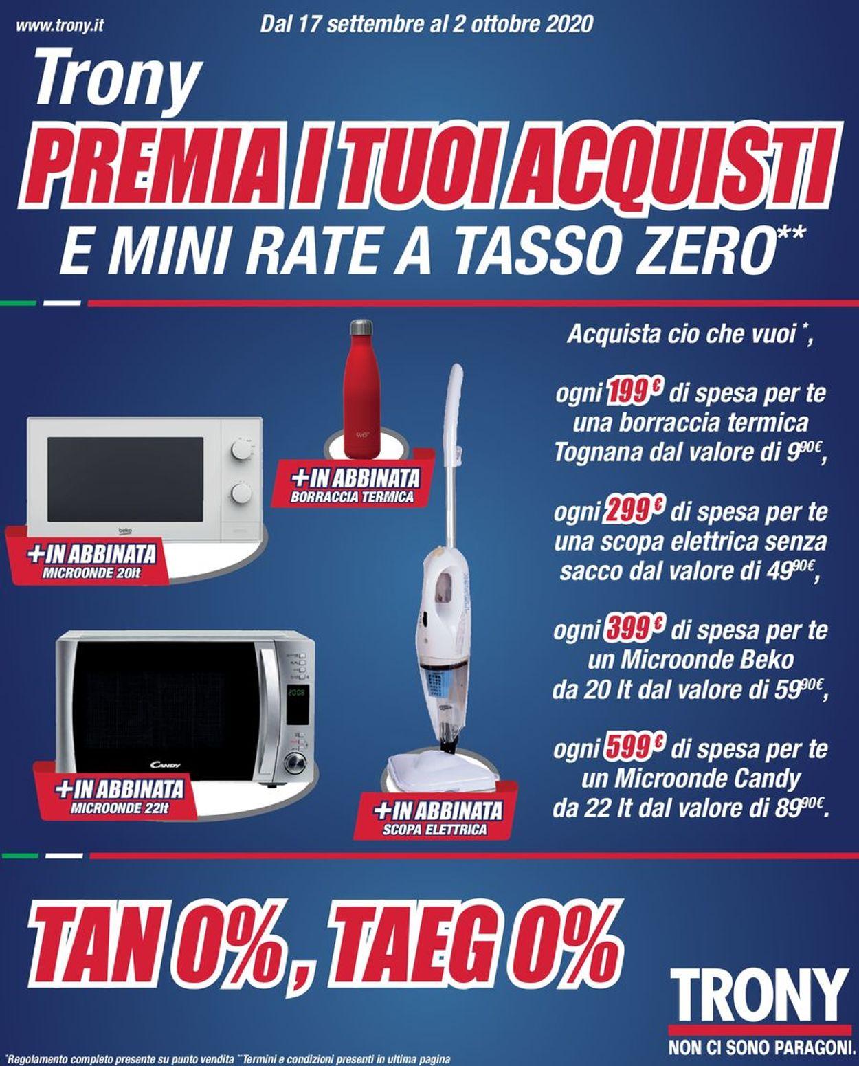 Volantino Trony - Offerte 17/09-02/10/2020