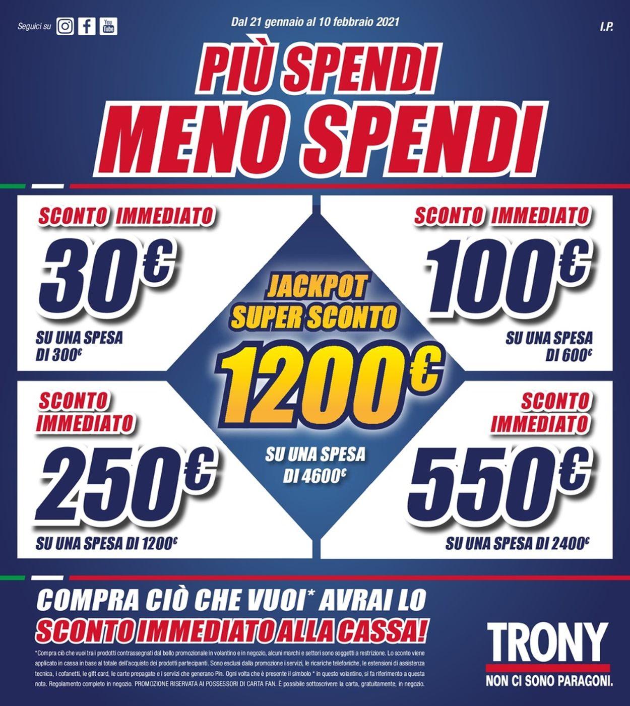 Volantino Trony - Offerte 21/01-10/02/2021
