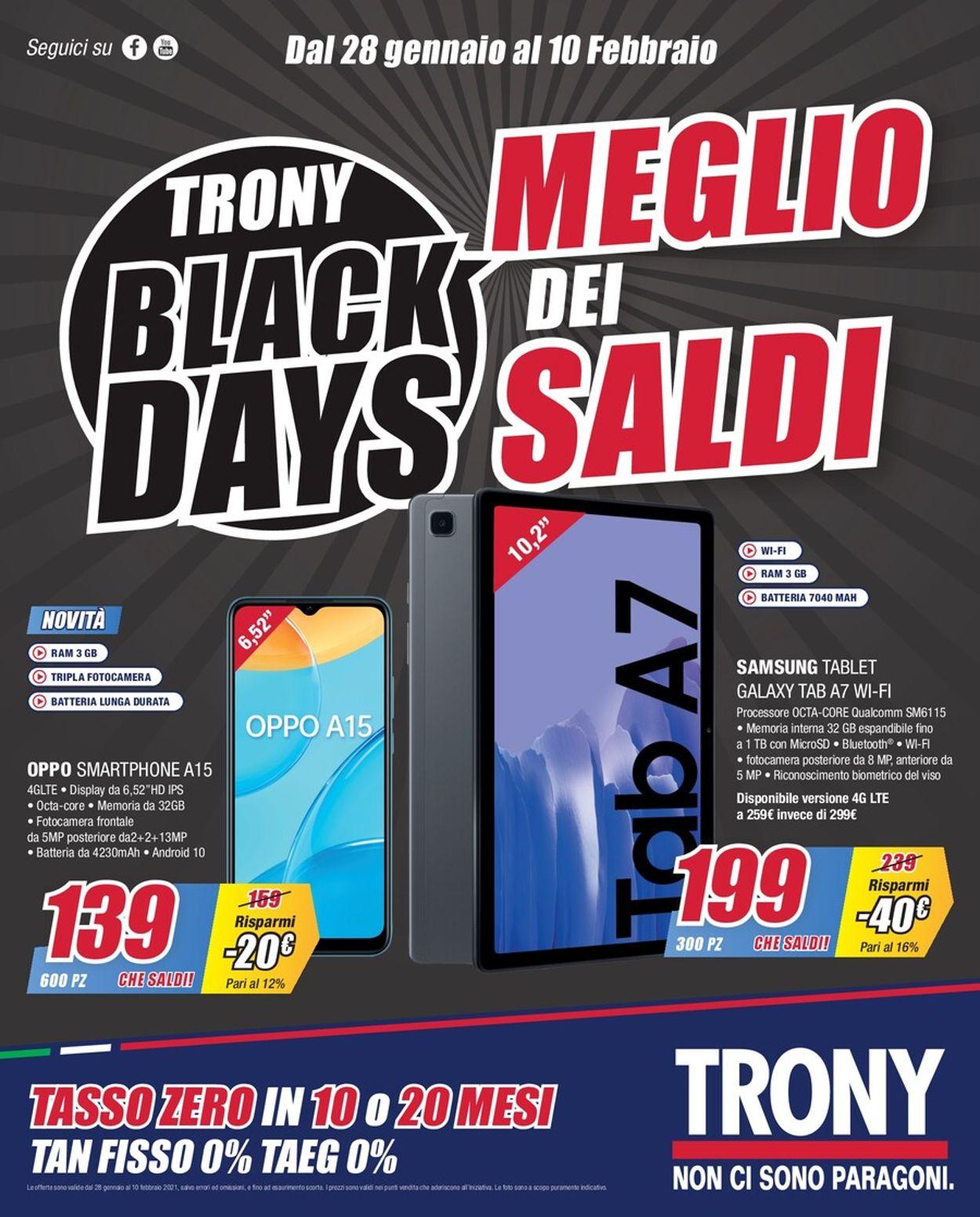 Volantino Trony - Black Days 2021 - Offerte 28/01-10/02/2021