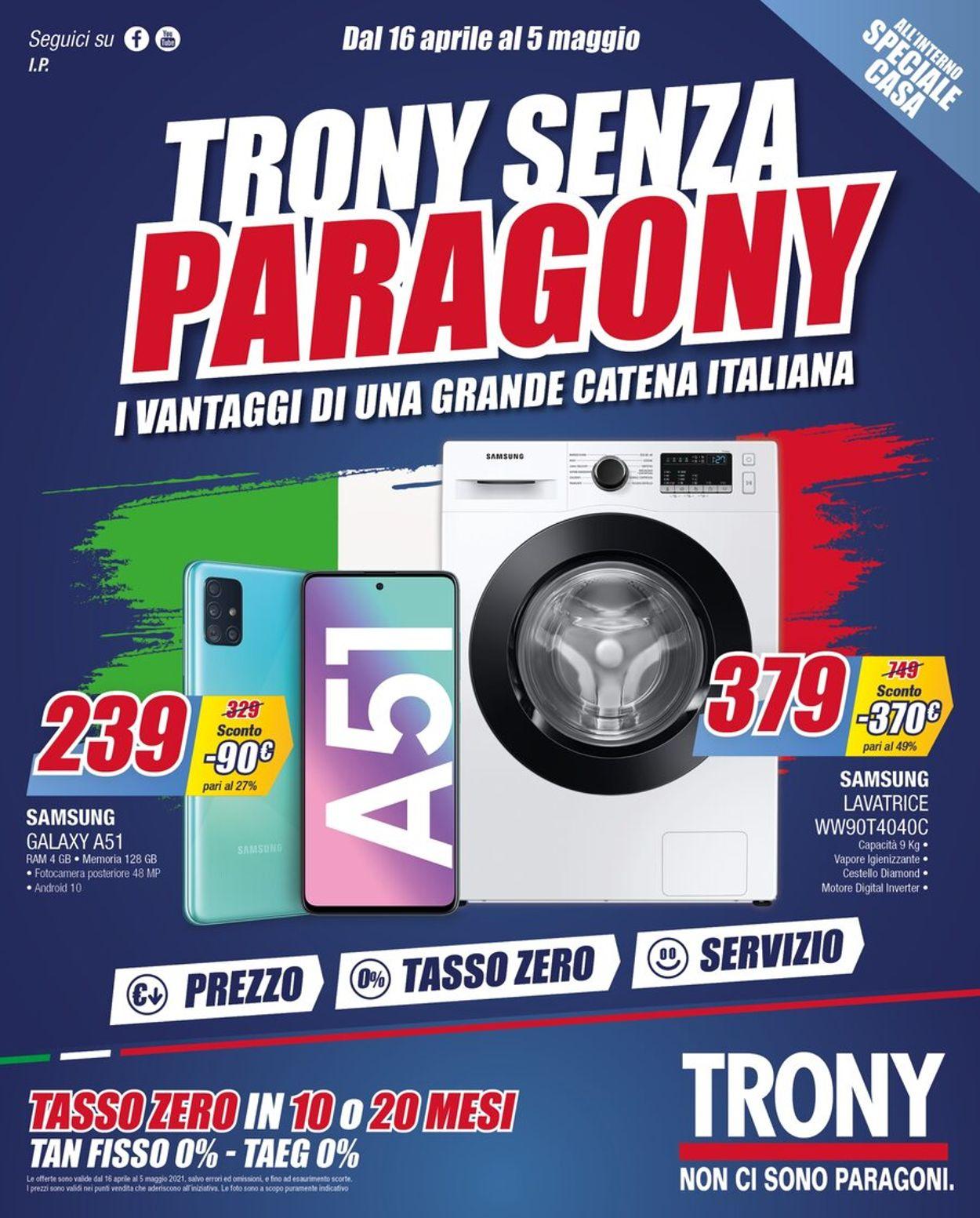 Volantino Trony - Offerte 16/04-05/05/2021