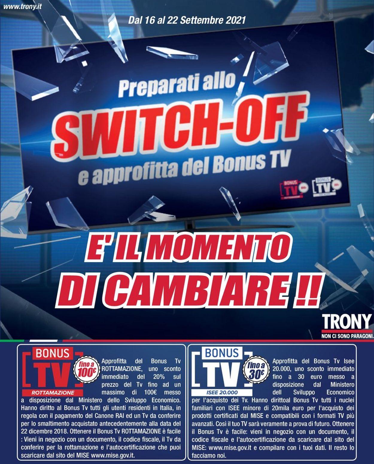 Volantino Trony - Offerte 16/09-22/09/2021