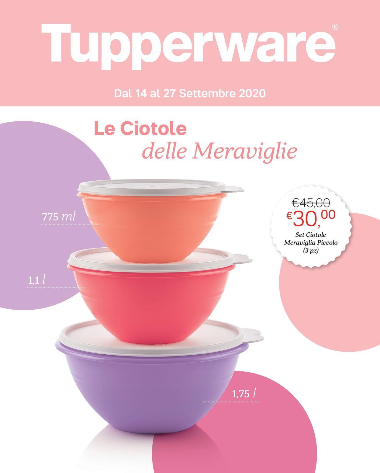 Volantino Tupperware - Offerte 14/09-27/09/2020