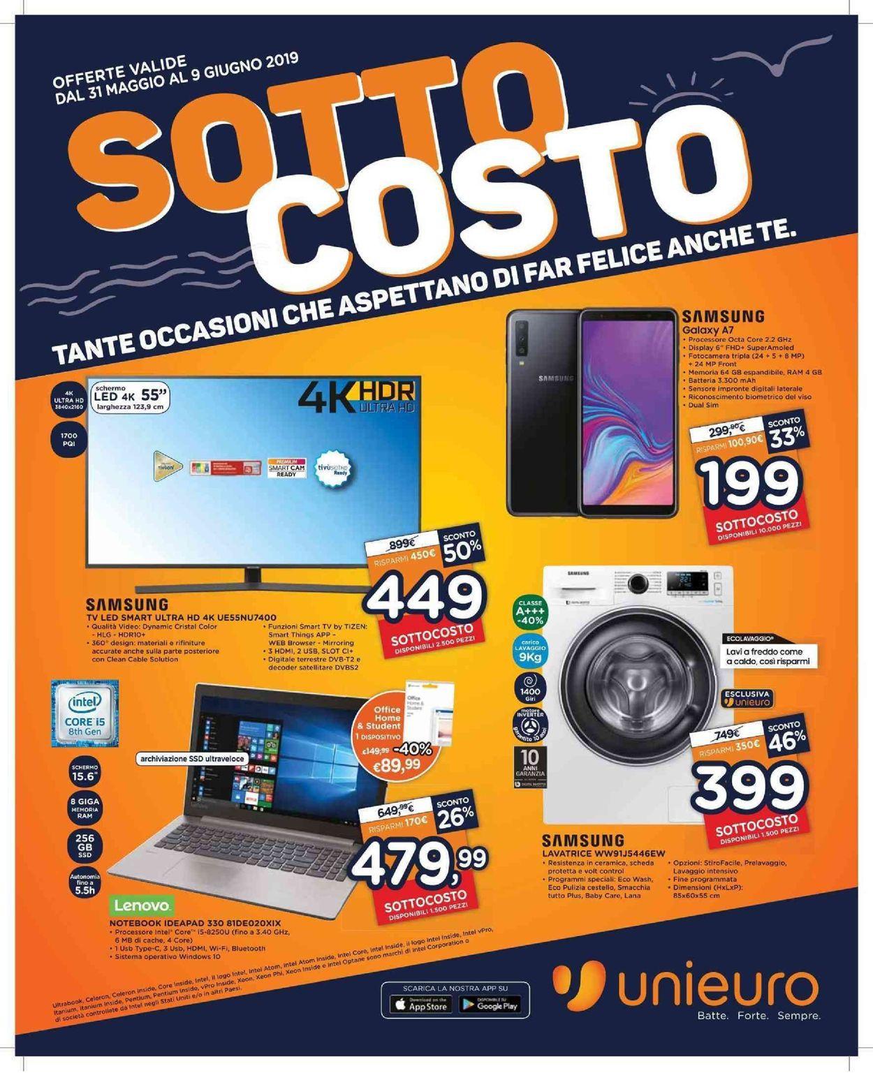 Volantino Unieuro - Offerte 31/05-09/06/2019