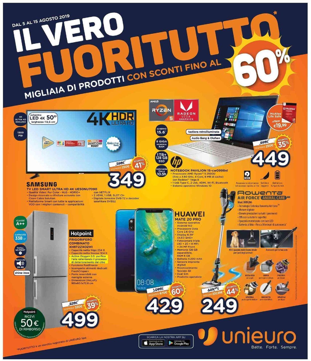 Volantino Unieuro - Offerte 05/08-15/08/2019