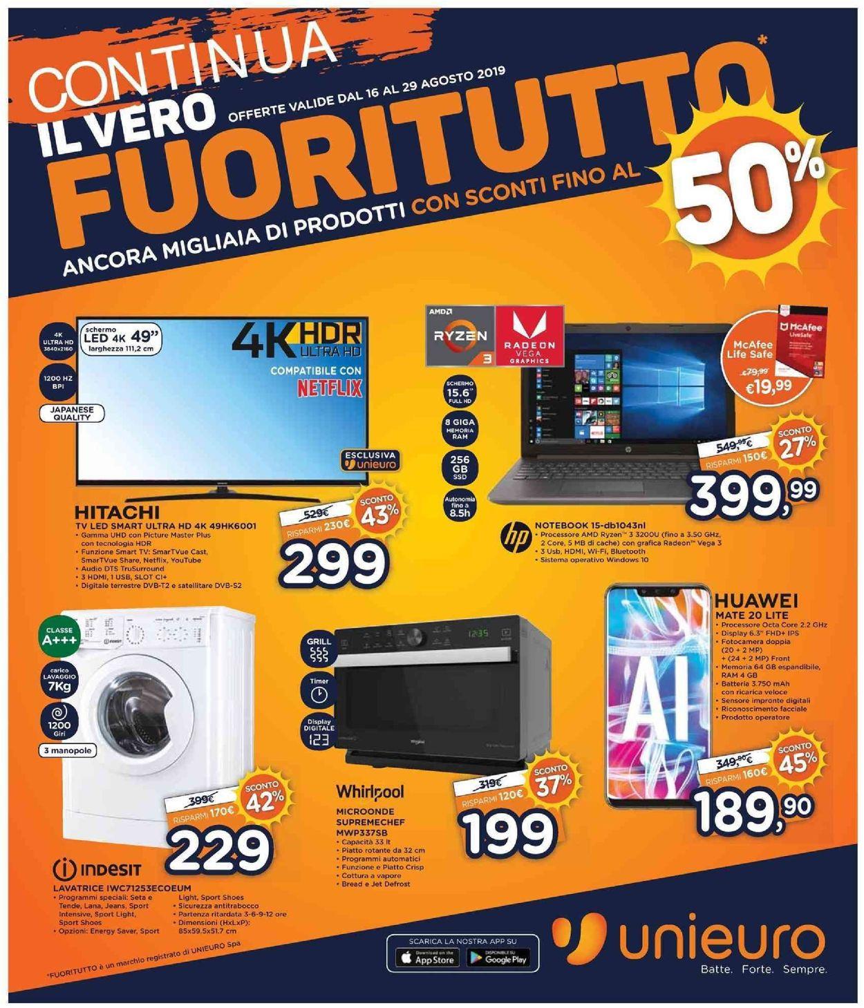Volantino Unieuro - Offerte 16/08-29/08/2019