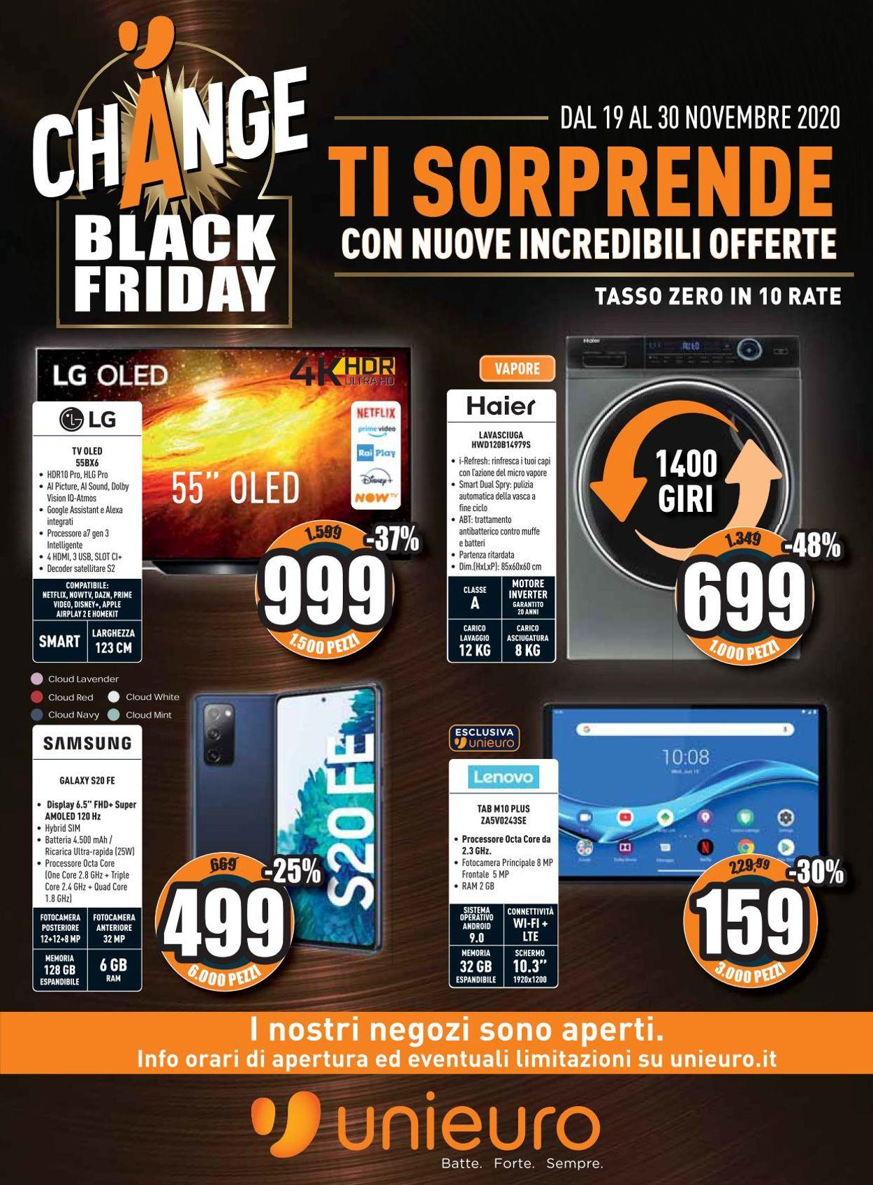 Volantino Unieuro - Black Friday 2020 - Offerte 19/11-30/11/2020