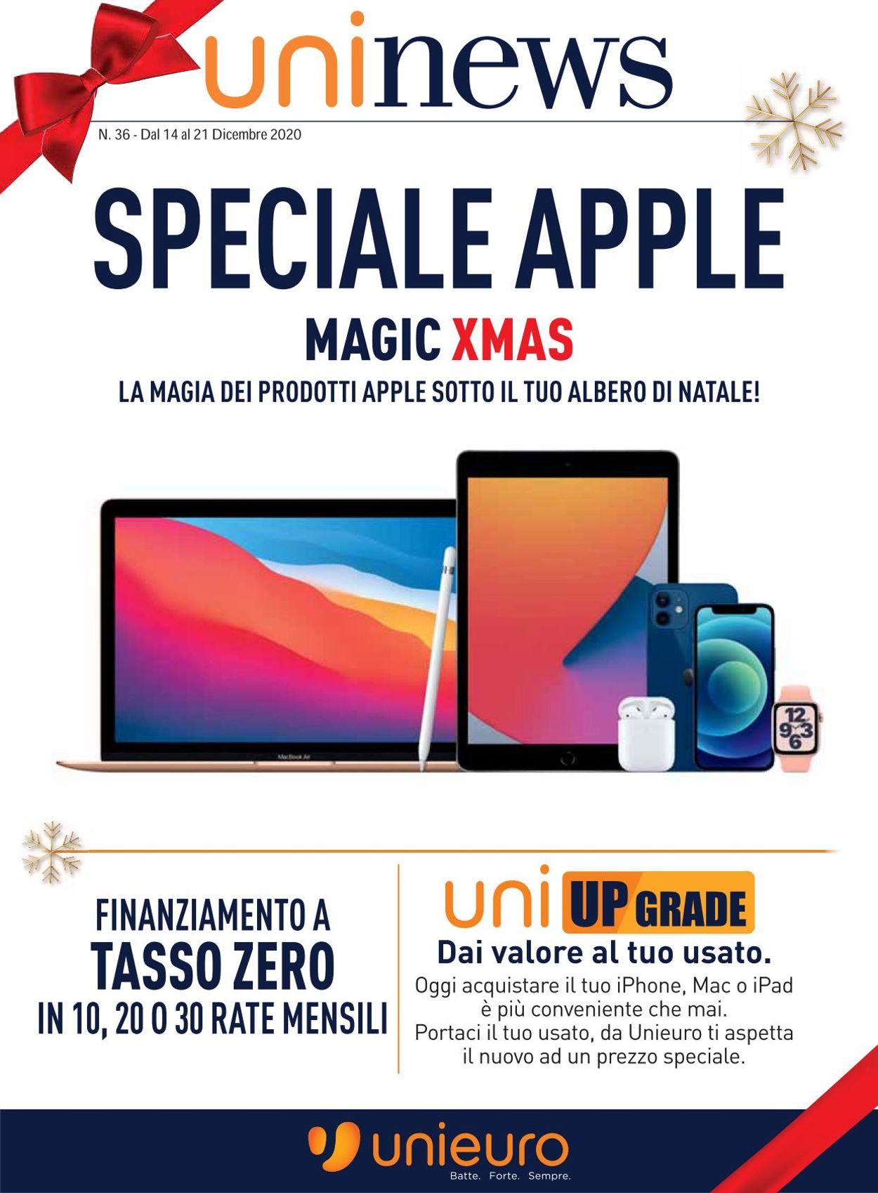 Volantino Unieuro - Apple Magix Xmas 2020 - Offerte 14/12-21/12/2020