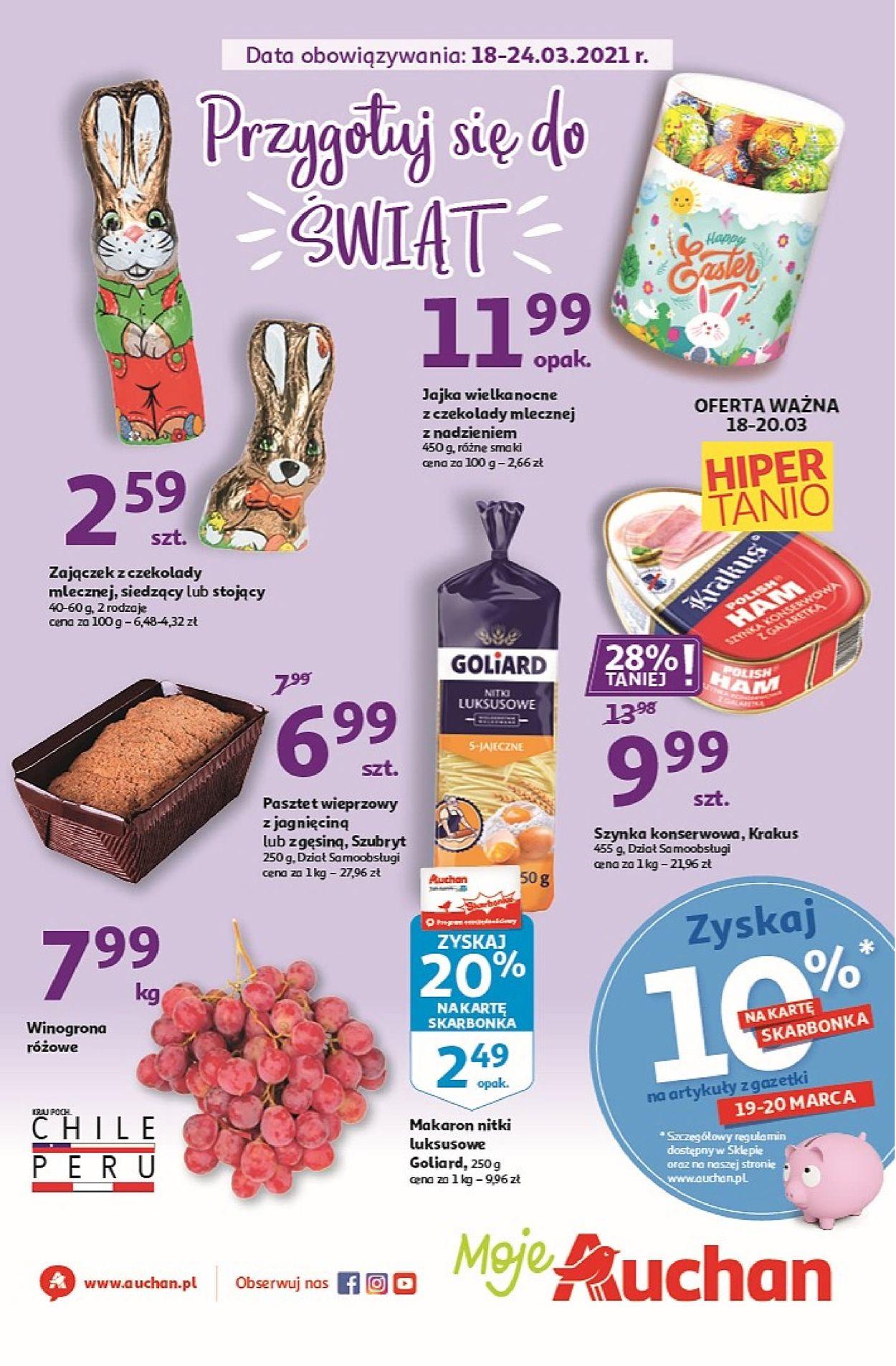 Gazetka promocyjna Auchan Przygotuj się do Świąt Moje Auchan - 18.03-24.03.2021
