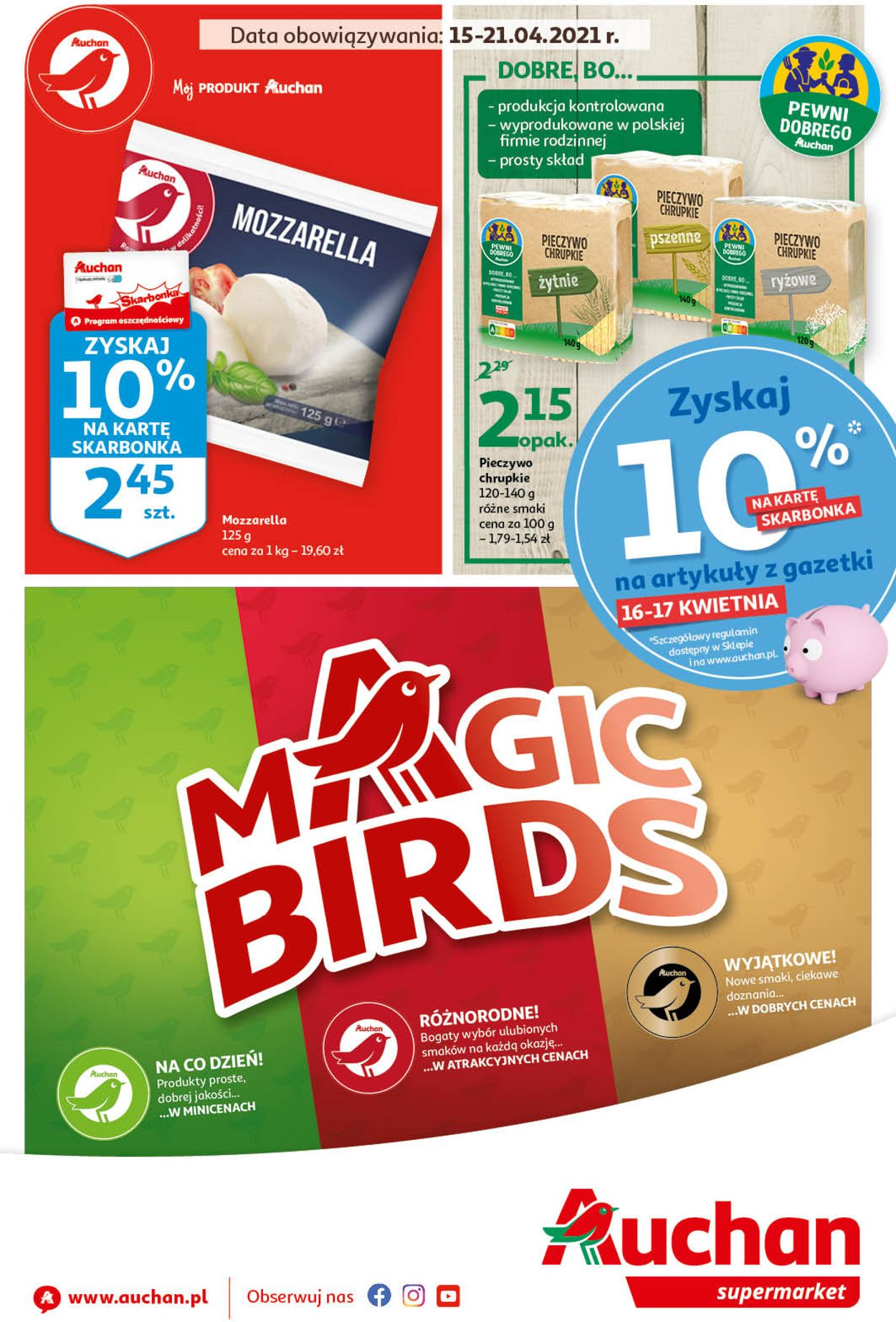Gazetka promocyjna Auchan Magic Birds Supermarkety - 15.04-21.04.2021