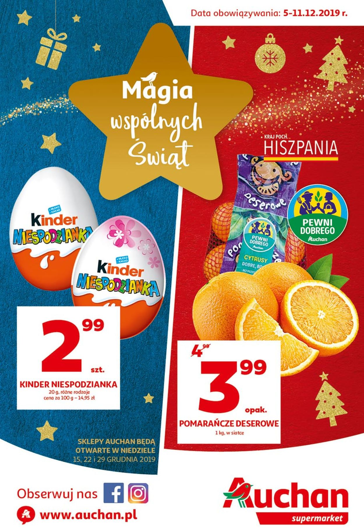 Gazetka promocyjna Auchan - Gazetka Świąteczna 2019 - 05.12-11.12.2019