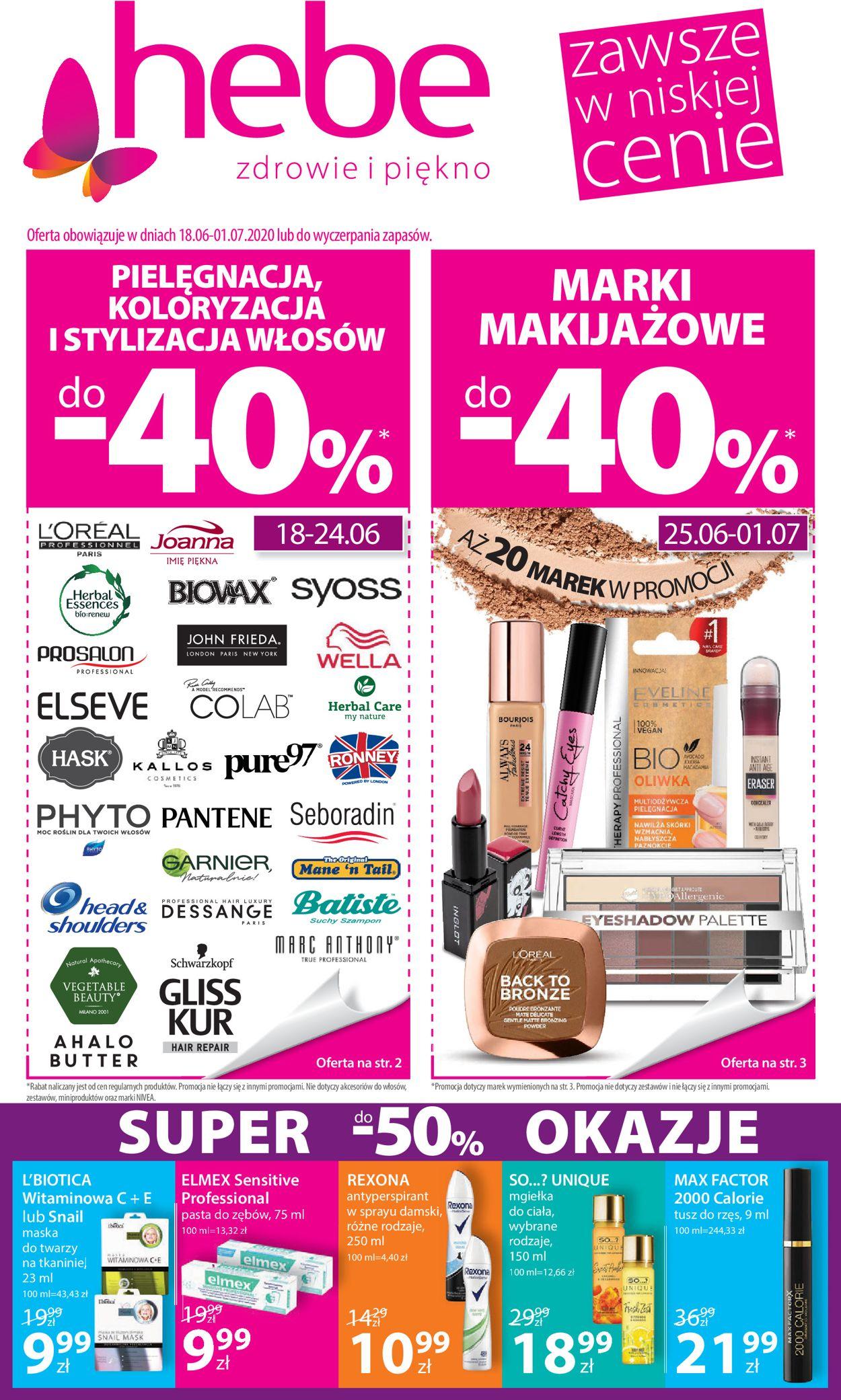 Gazetka promocyjna Hebe - 18.06-01.07.2020