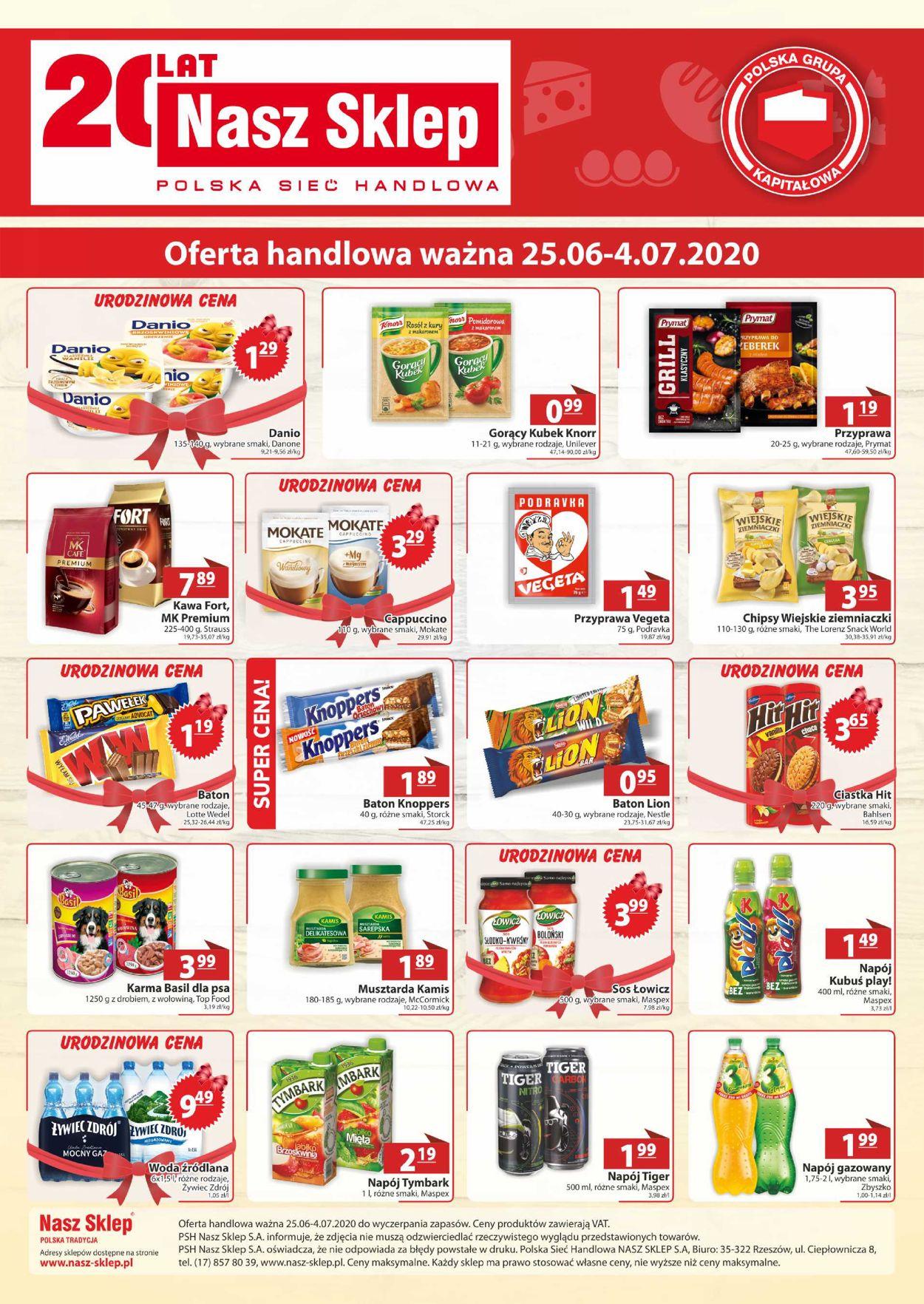 Gazetka promocyjna Nasz Sklep - 25.06-04.07.2020