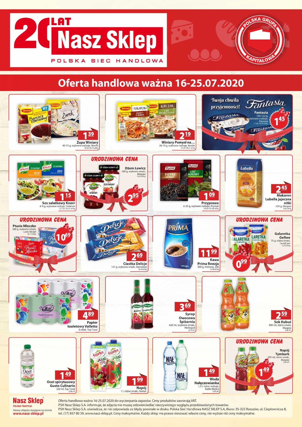 Gazetka promocyjna Nasz Sklep - 16.07-25.07.2020