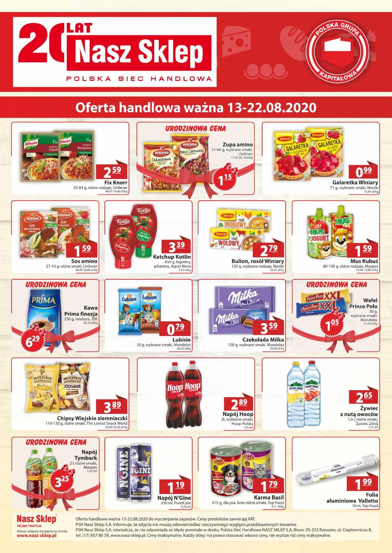 Gazetka promocyjna Nasz Sklep - 13.08-22.08.2020