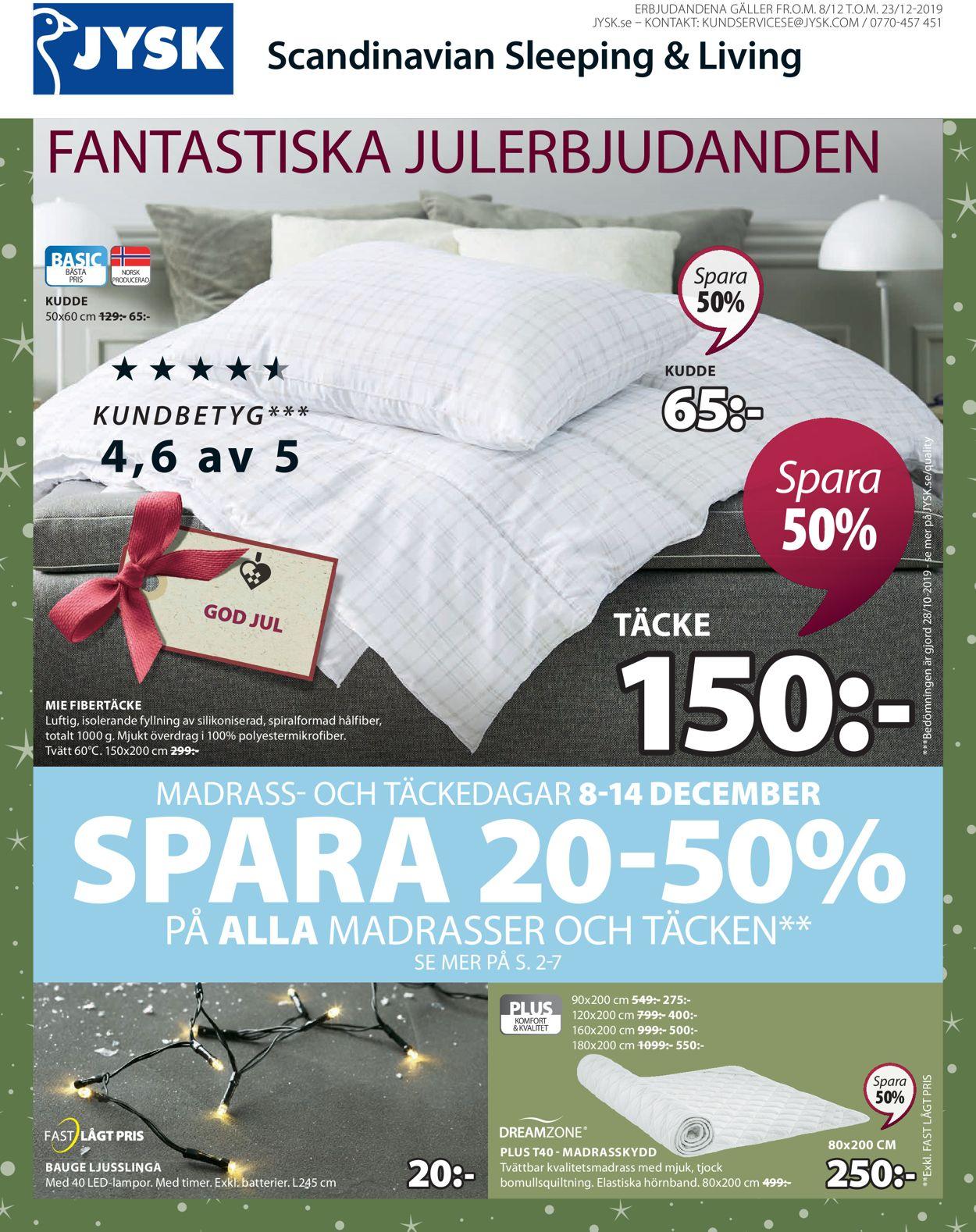 Aktuell annons Jysk Julen 2019 - Reklamblad - 08/12-23/12-2019