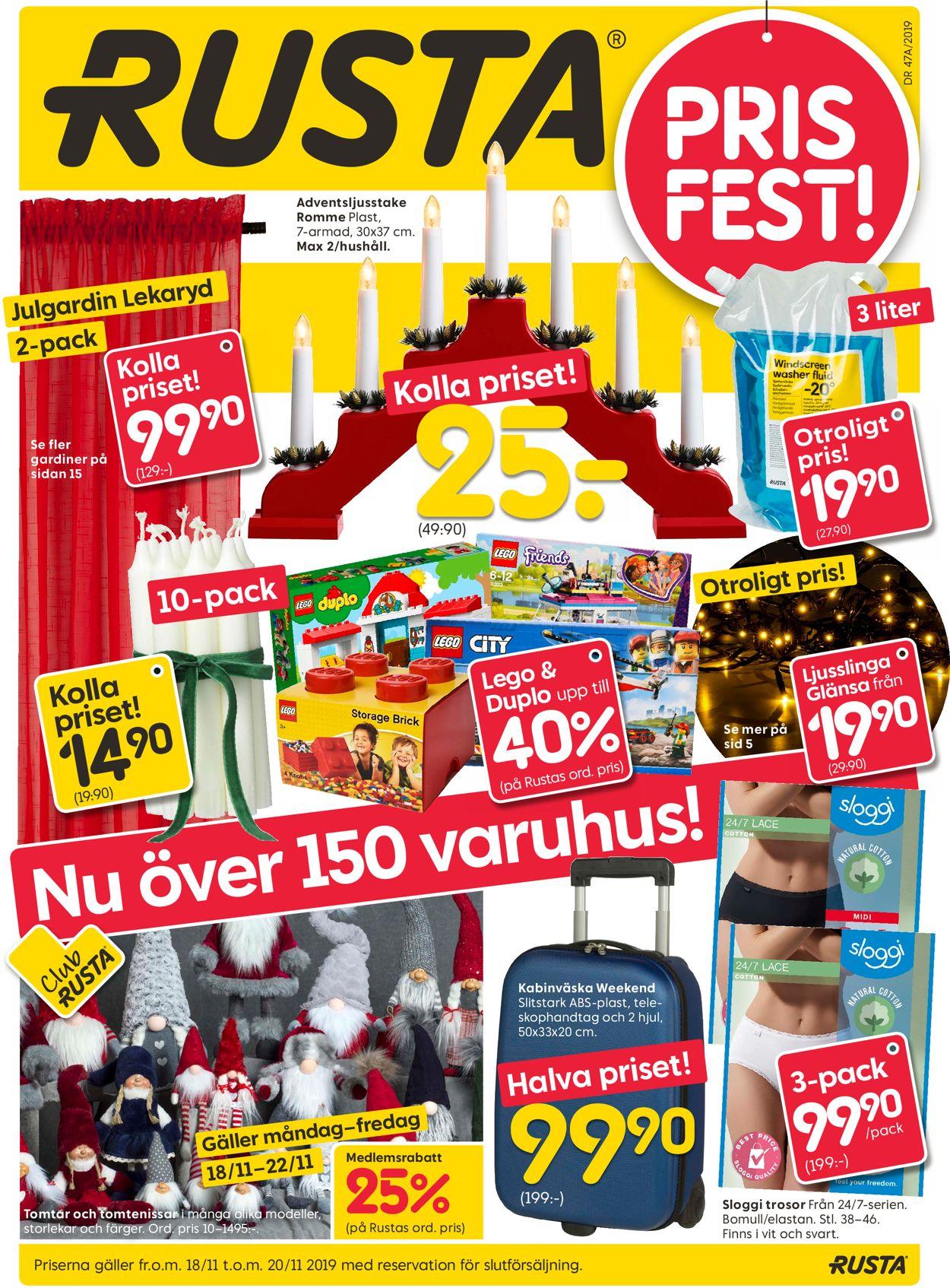 Aktuell annons Rusta Julen 2019 - Reklamblad - 18/11-20/11-2019