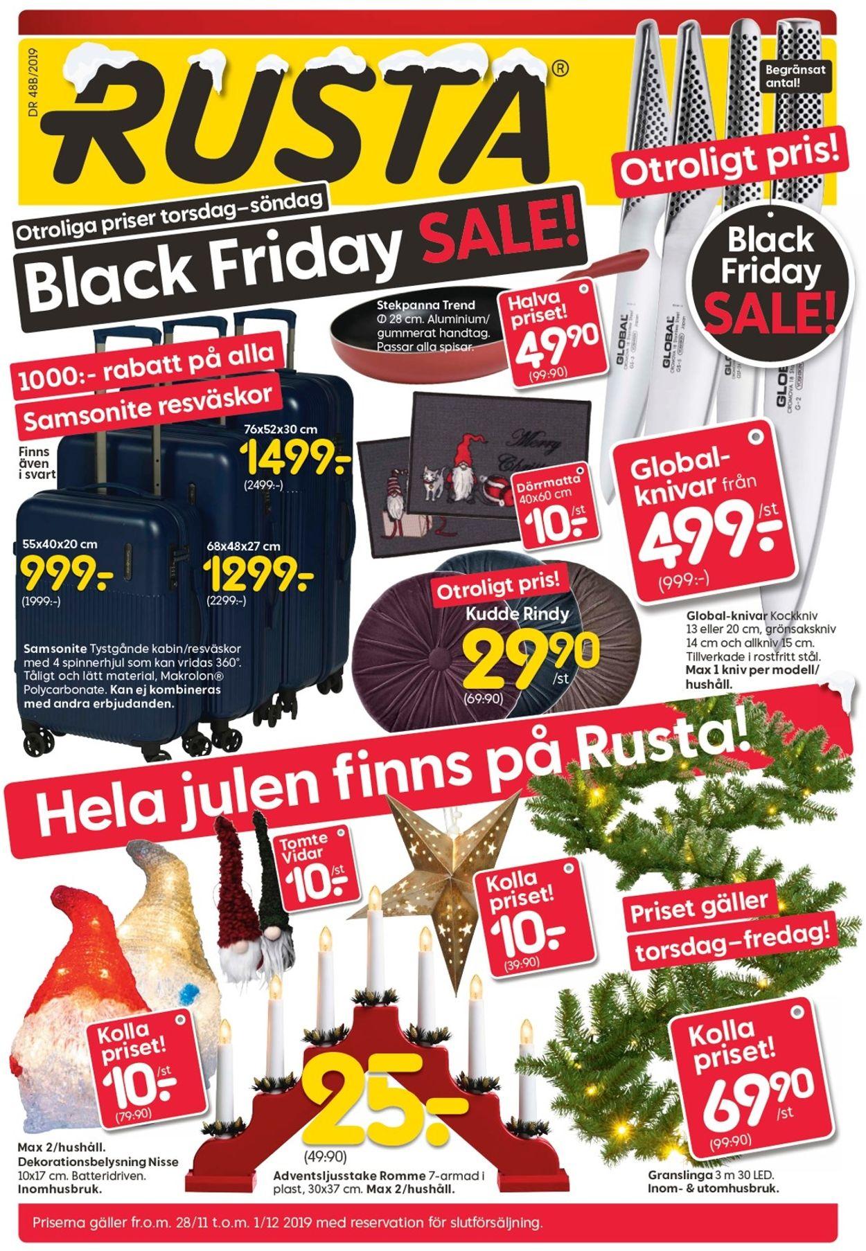 Rusta Black Friday 2019 - Reklamblad - 28/11-01/12-2019