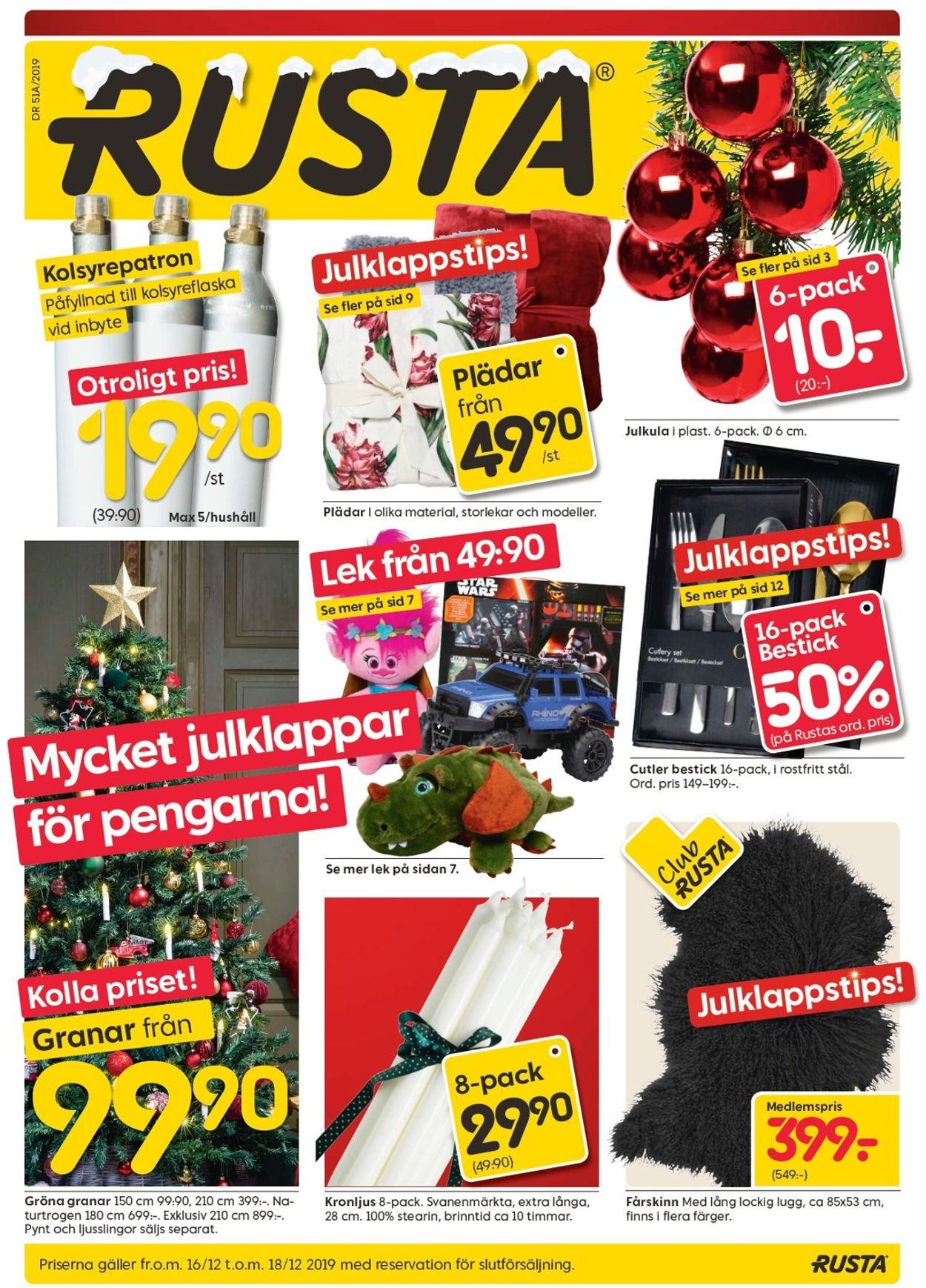 Aktuell annons Rusta Julen 2019 - Reklamblad - 16/12-18/12-2019