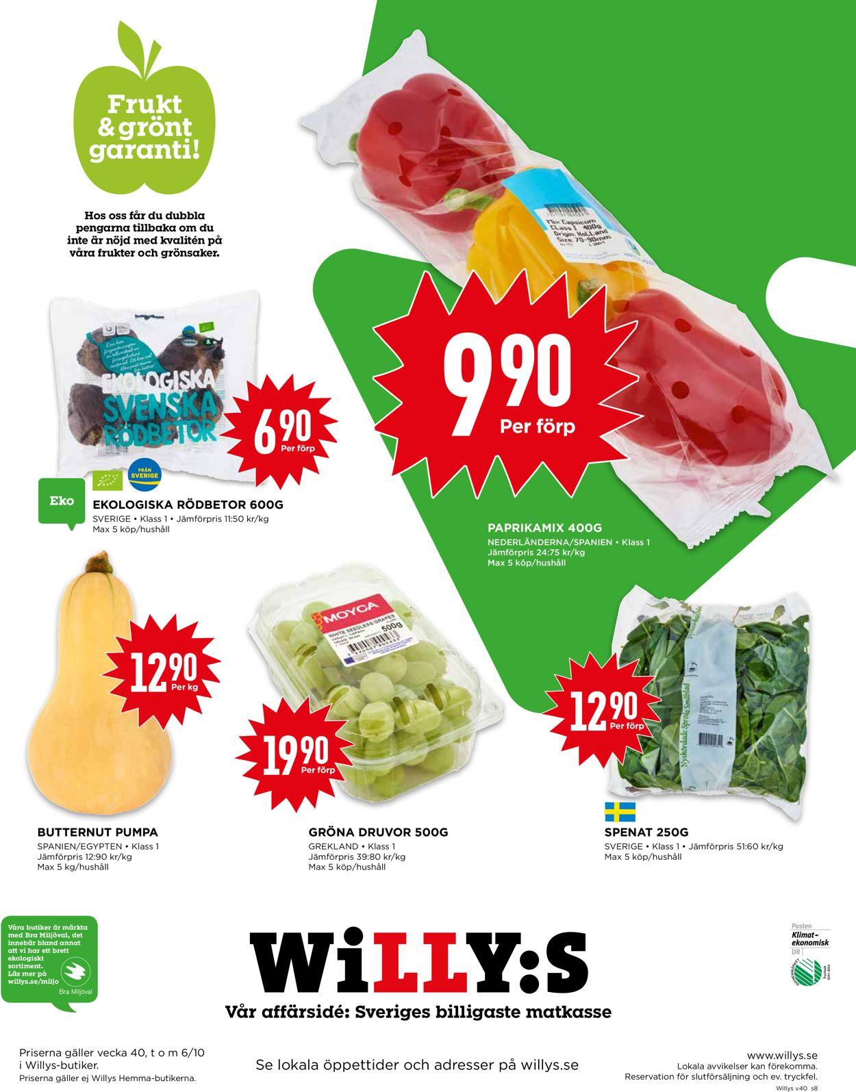 WiLLY:S - Reklamblad - 30/09-06/10-2019 (Sida 8)