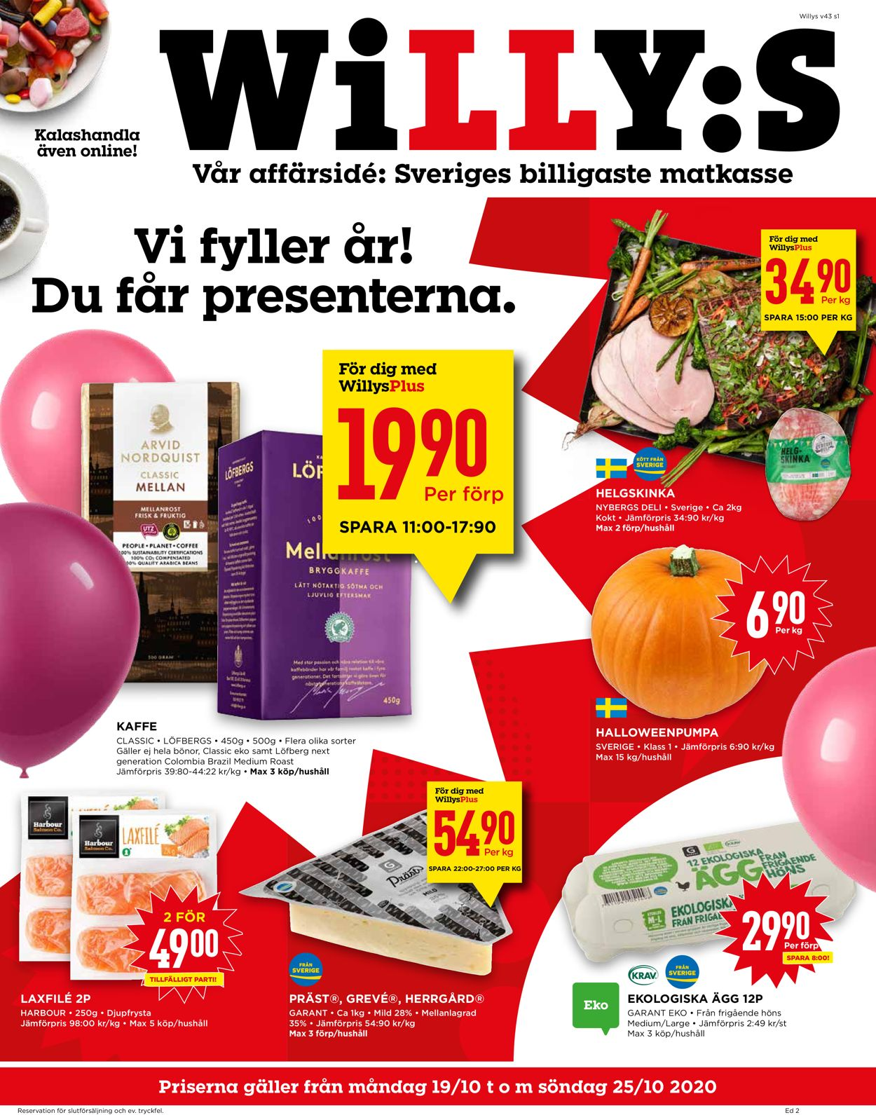 WiLLY:S - Reklamblad - 19/10-25/10-2020