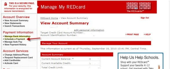 Target RedCard Payment online