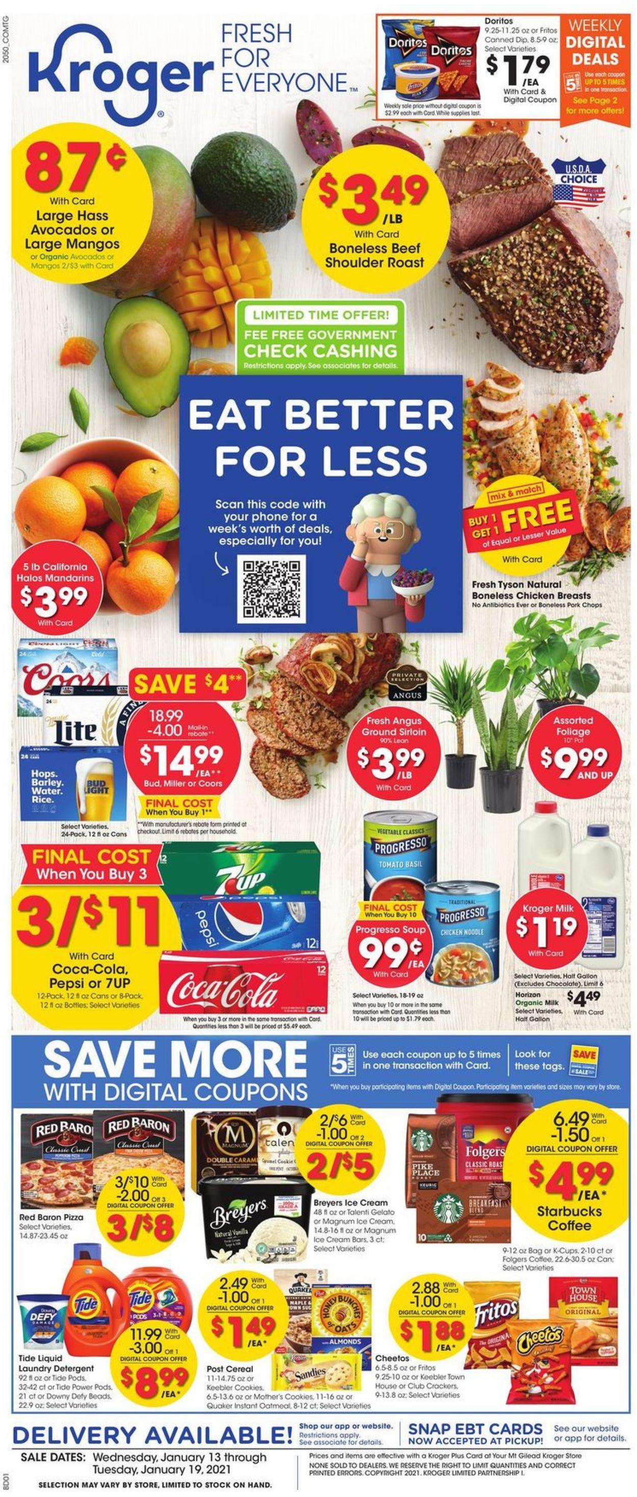 Kroger Weekly Ad Circular - valid 01/13-01/19/2021