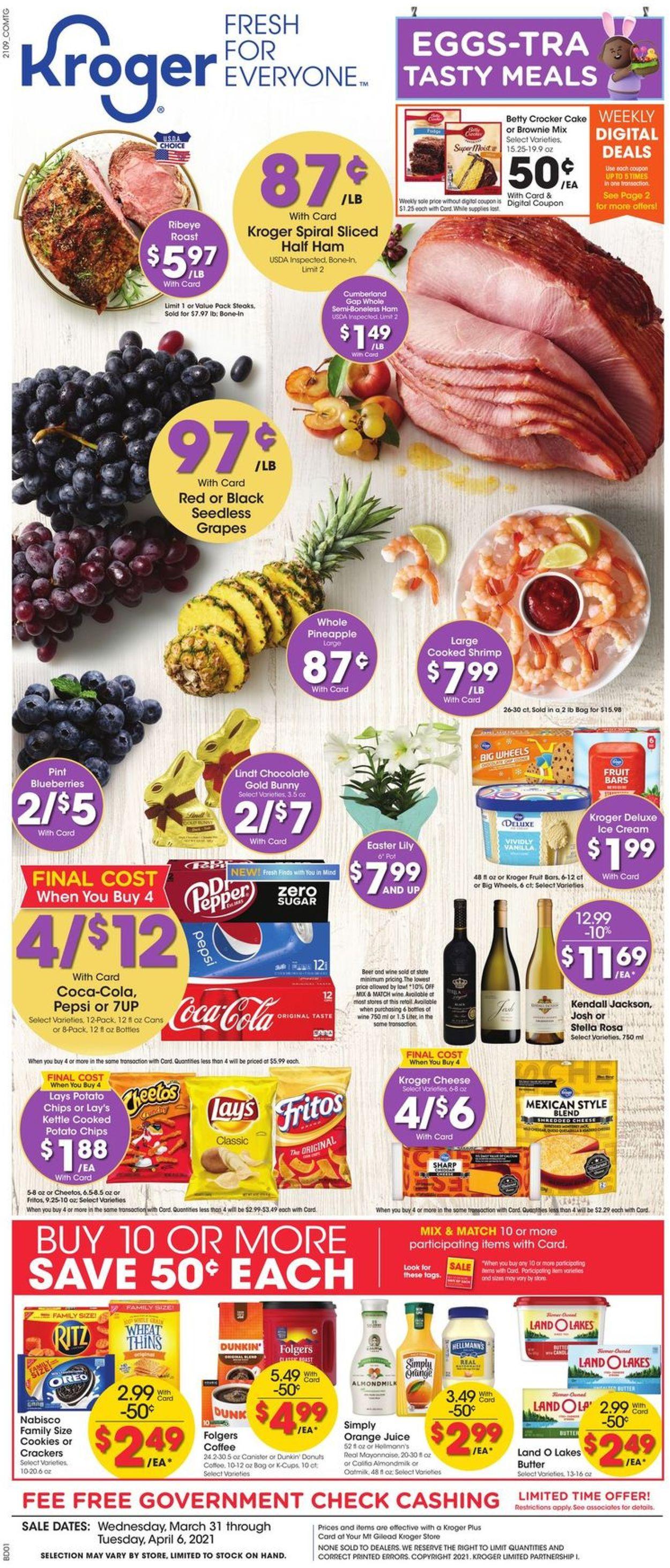 Kroger - Easter 2021 Ad Weekly Ad Circular - valid 03/31-04/06/2021