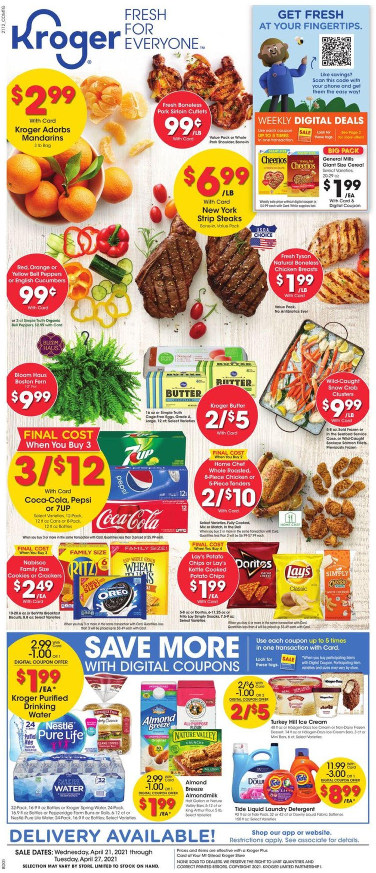 Kroger Weekly Ad Circular - valid 04/21-04/27/2021