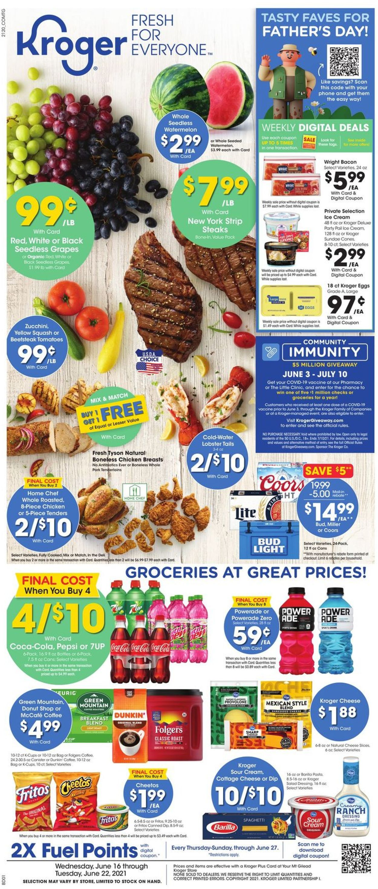 Kroger Weekly Ad Circular - valid 06/16-06/22/2021