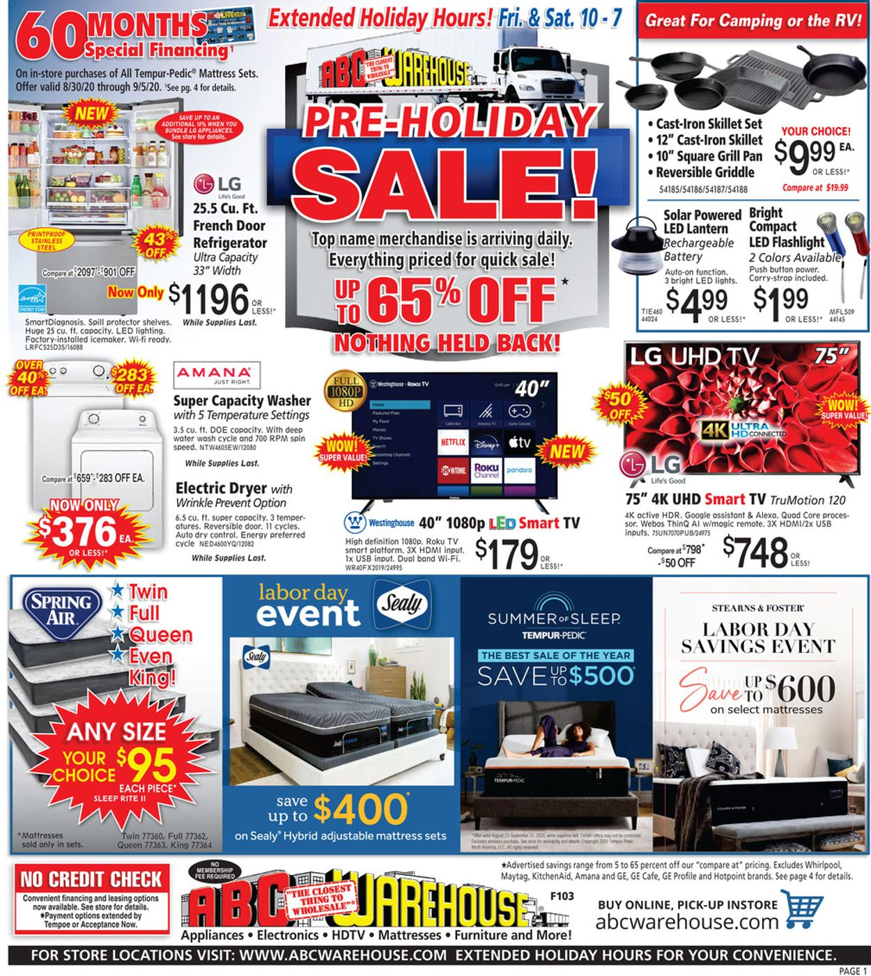 ABC Warehouse Weekly Ad Circular - valid 08/30-09/05/2020