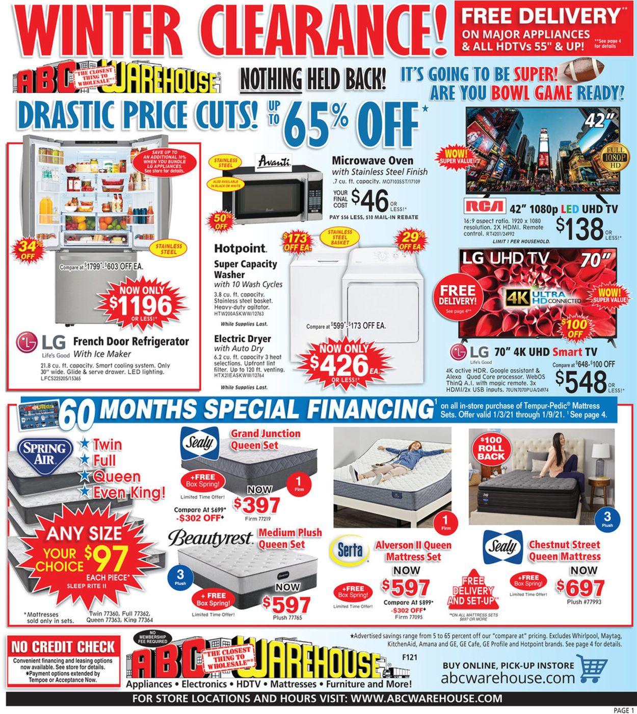 ABC Warehouse Winter Clearance 2021 Weekly Ad Circular - valid 01/03-01/09/2021