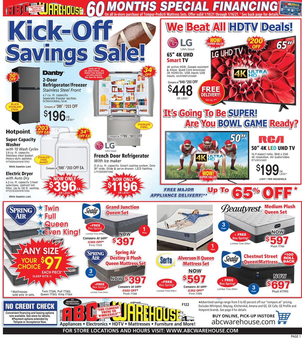 ABC Warehouse Weekly Ad Circular - valid 01/10-01/16/2021