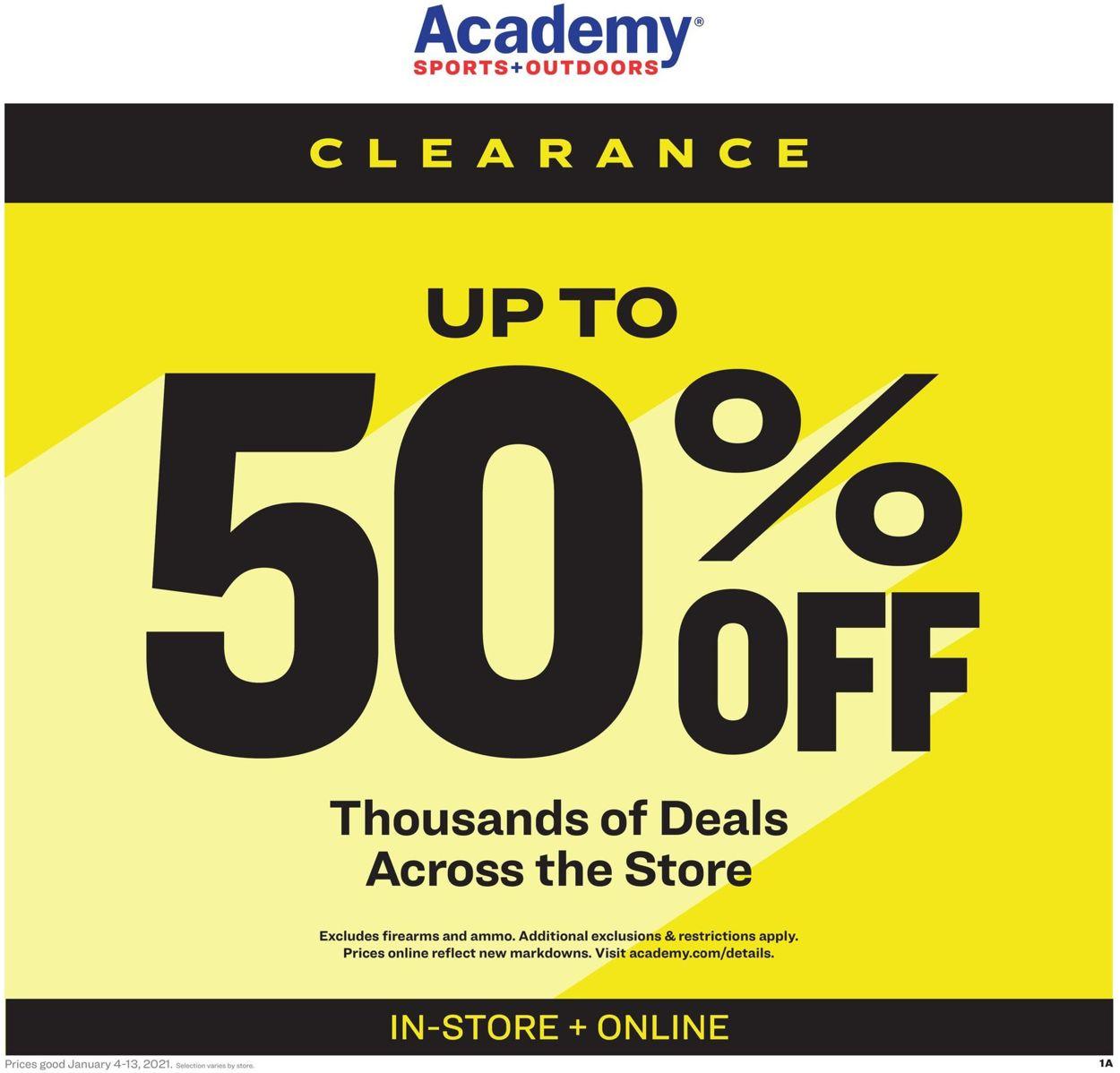 Academy Sports Clearance 2021 Weekly Ad Circular - valid 01/04-01/13/2021