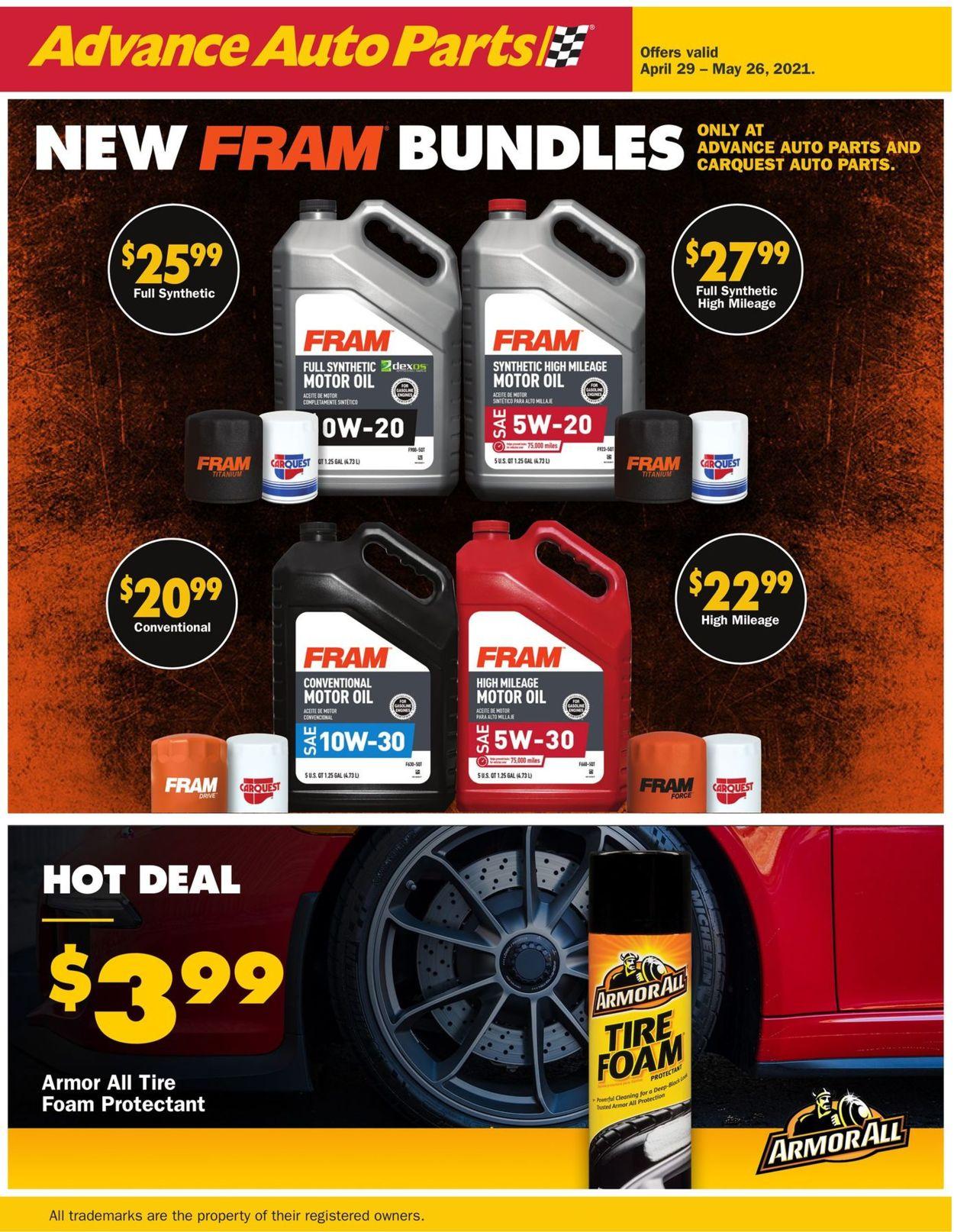 Advance Auto Parts Weekly Ad Circular - valid 04/29-05/26/2021