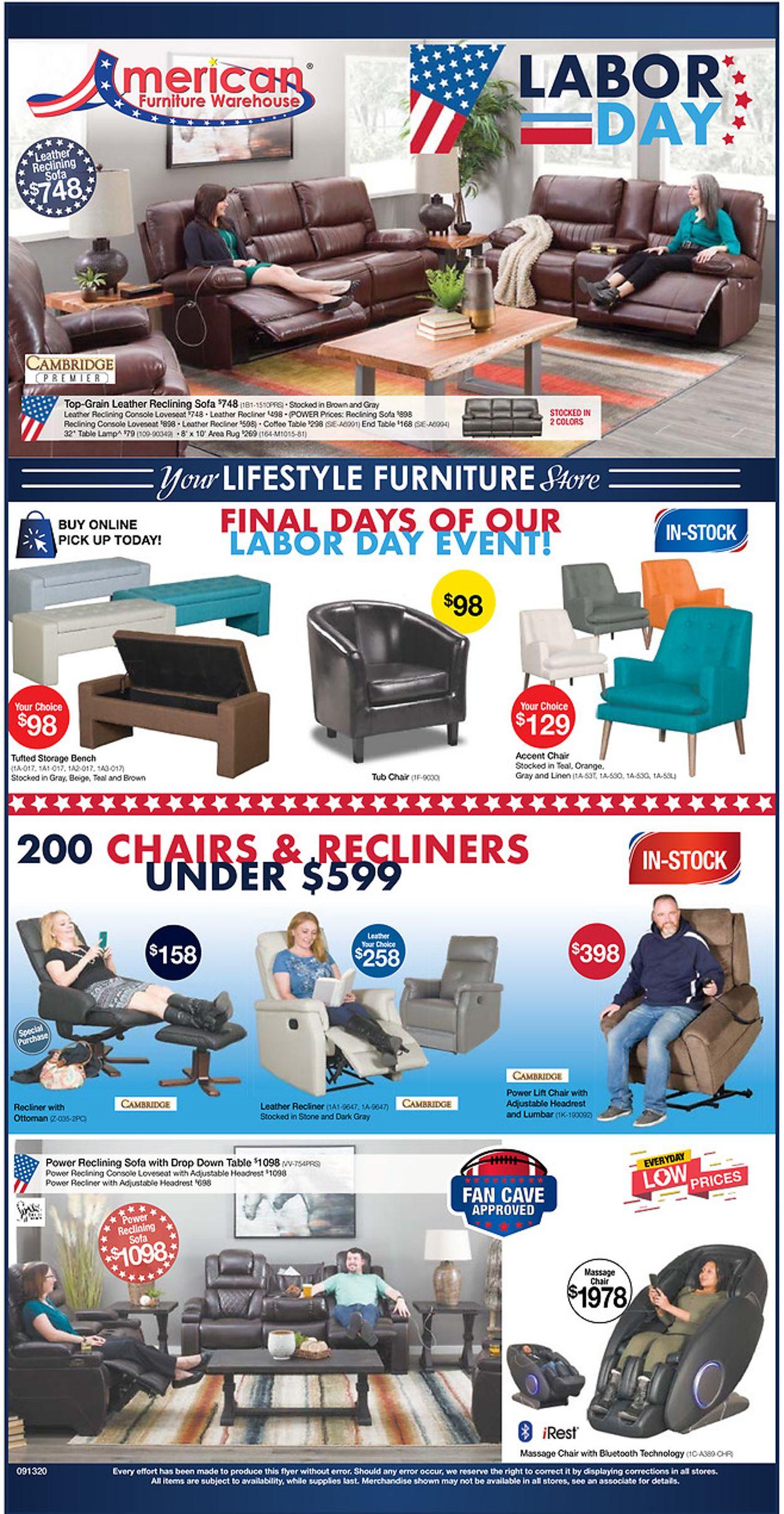 American Furniture Warehouse Weekly Ad Circular - valid 08/19-09/15/2020