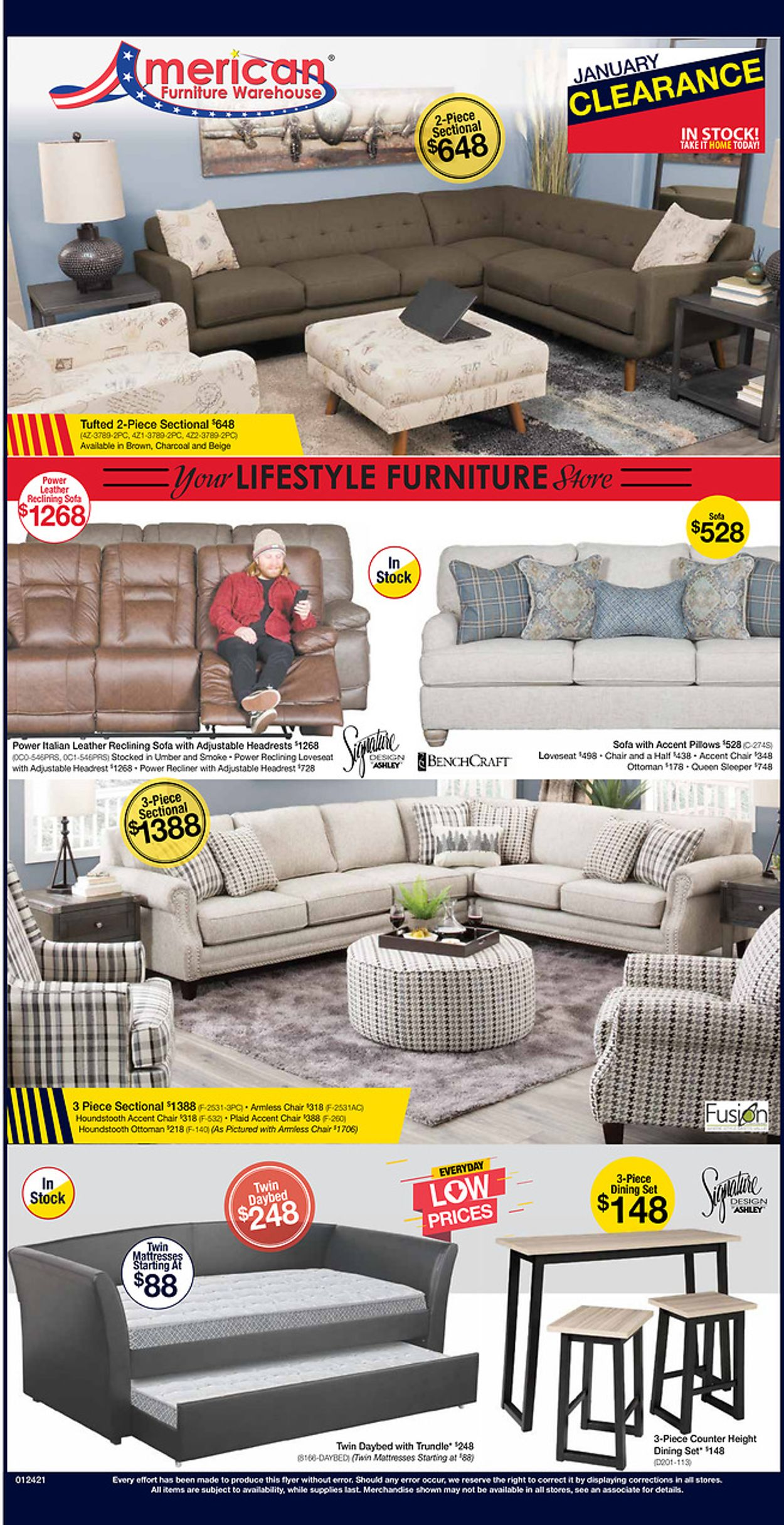 American Furniture Warehouse Weekly Ad Circular - valid 01/25-01/30/2021