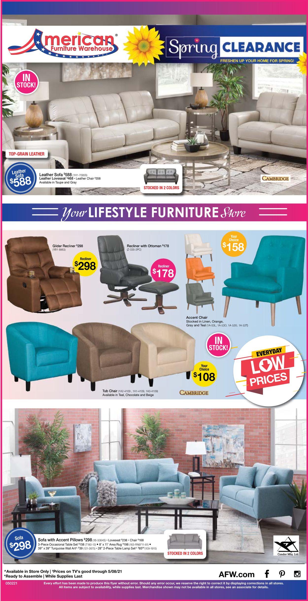 American Furniture Warehouse Weekly Ad Circular - valid 05/02-05/08/2021
