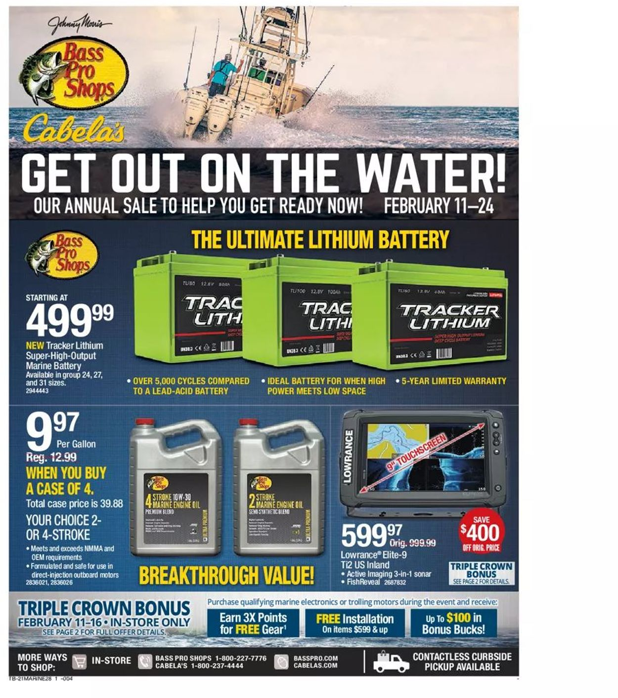 Bass Pro Get Out on the Water 2021 Weekly Ad Circular - valid 02/11-02/24/2021