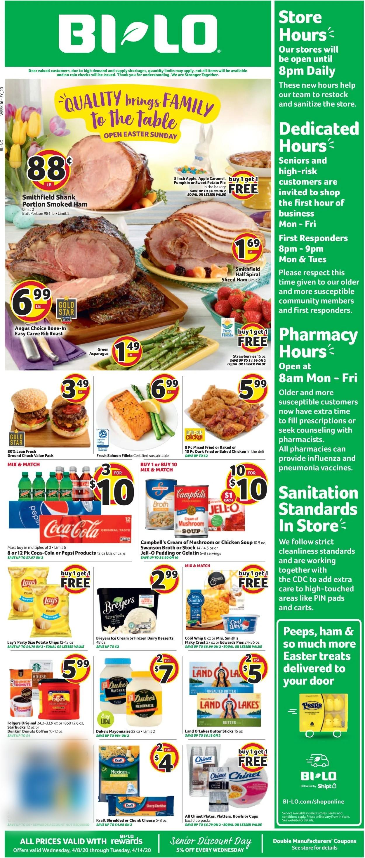 BI-LO Weekly Ad Circular - valid 04/08-04/14/2020