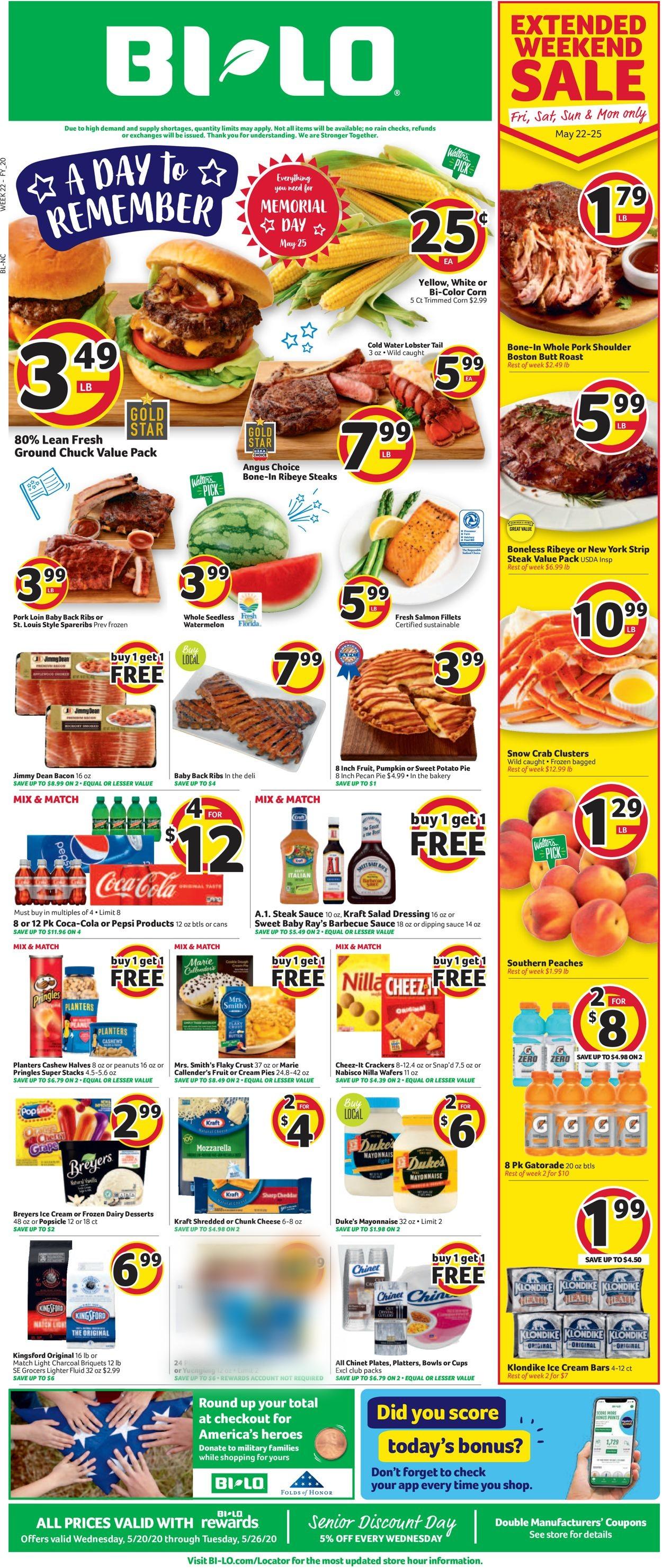 BI-LO Weekly Ad Circular - valid 05/20-05/26/2020