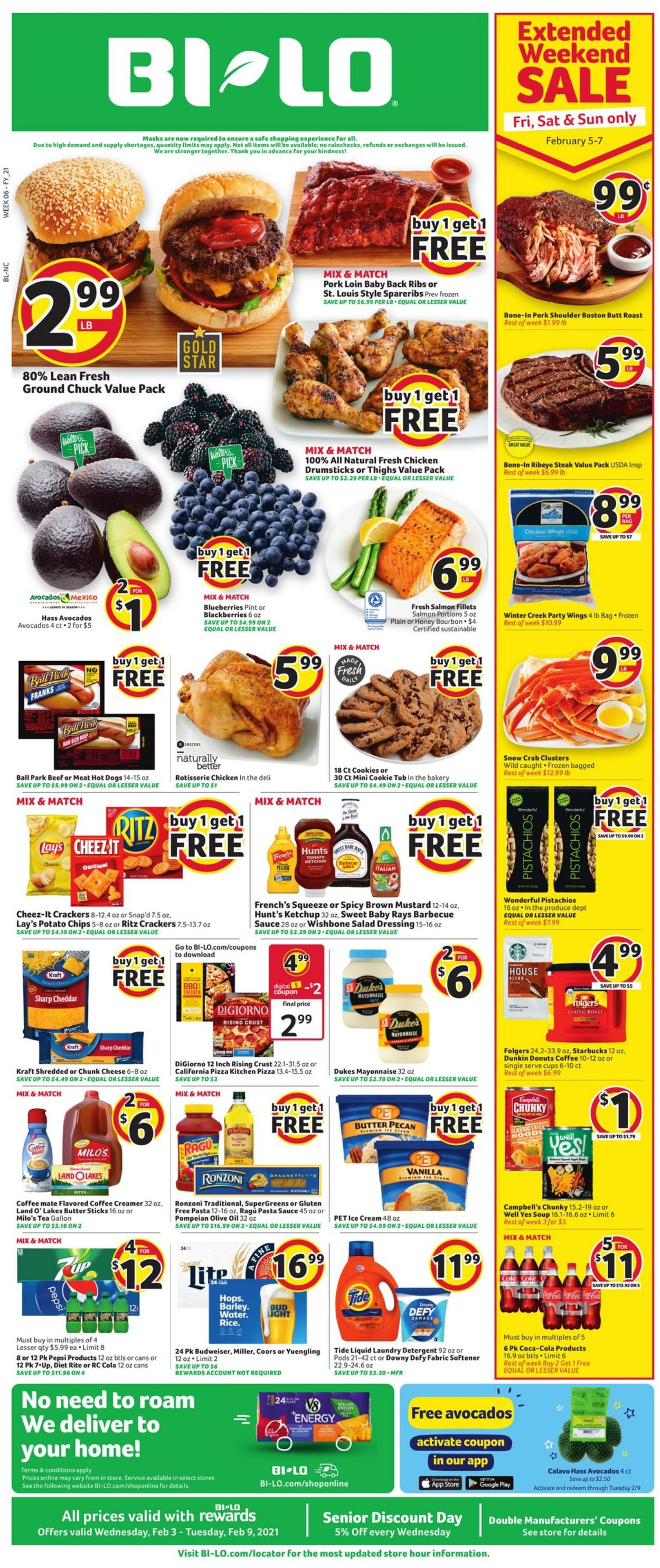 BI-LO Weekly Ad Circular - valid 02/03-02/09/2021