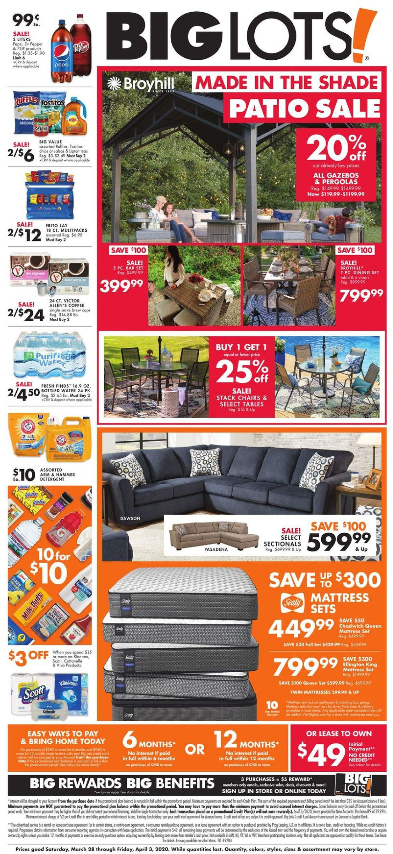 Big Lots Weekly Ad Circular - valid 03/28-04/03/2020